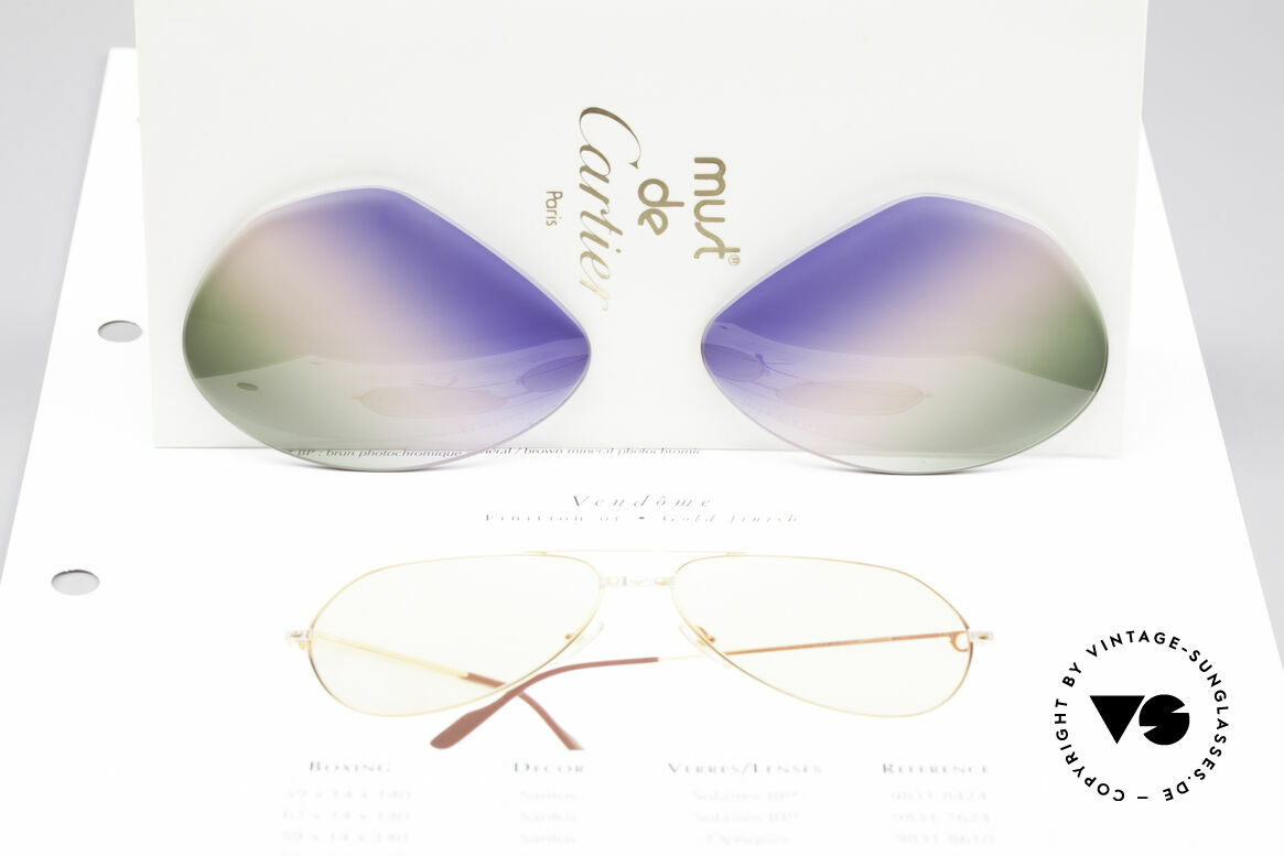 Cartier Vendome Lenses - L Tricolored Horizon Lenses, from sky-blue to the red of sunrise colors to grass-green, Made for Men and Women