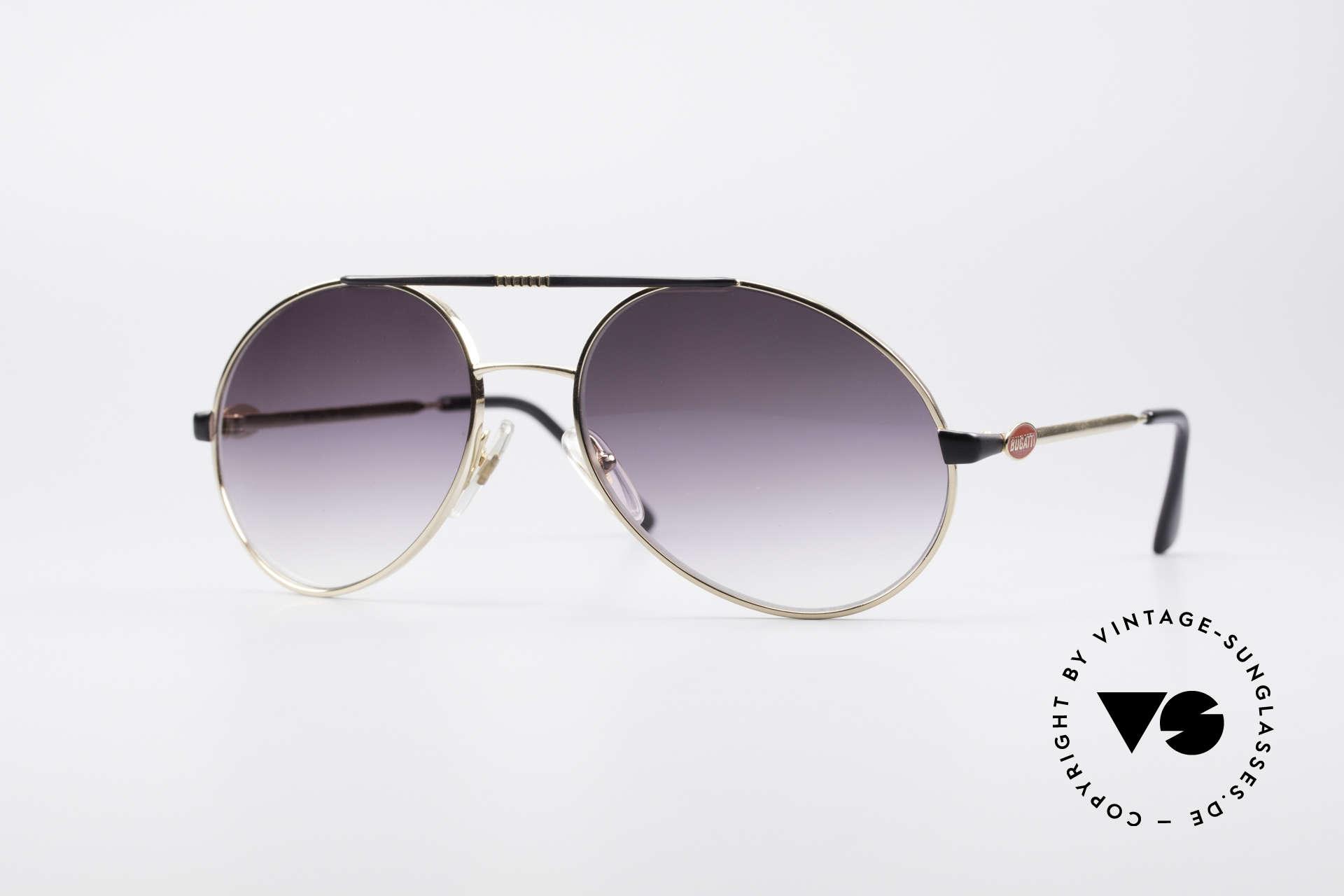 Bugatti 65837 80's Designer Sunglasses, unique 'tear drop'-design + distinctive red Bugatti logos, Made for Men