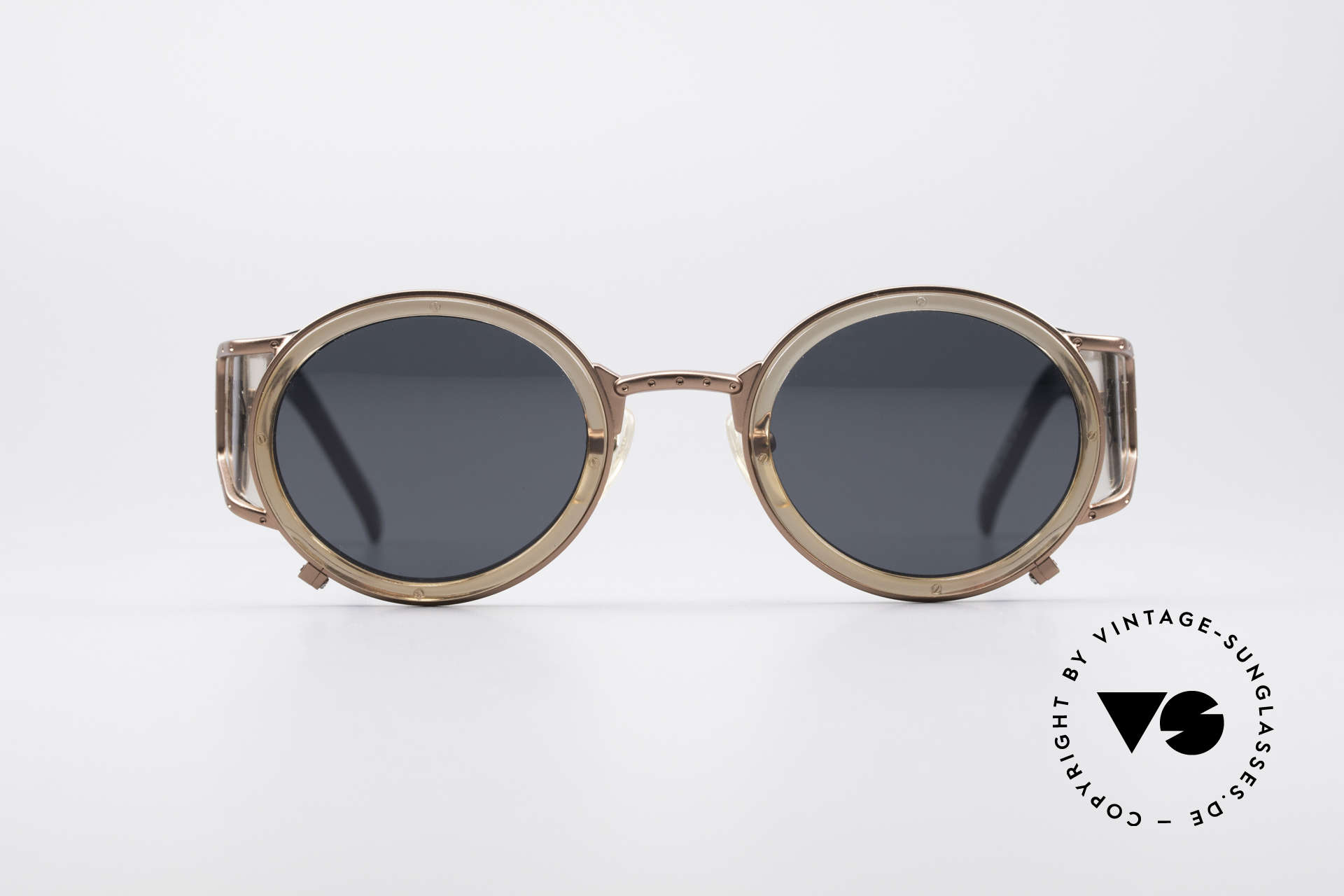 Jean Paul Gaultier 58-6201 Vintage Celebrity Glasses, metal & plastic combination in copper / translucent, Made for Men and Women