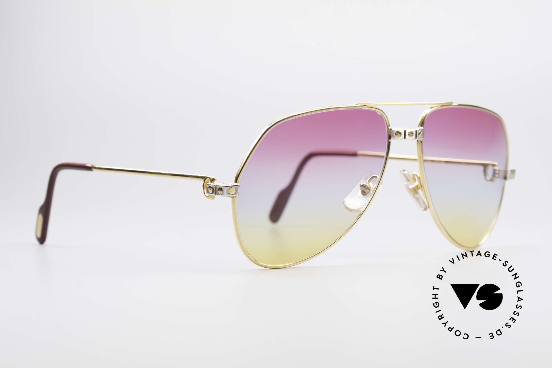 Cartier Vendome Santos - M Rare 80's Aviator Sunglasses, Santos Decor (with 3 screws): MEDIUM size 59-14, 130, Made for Men and Women