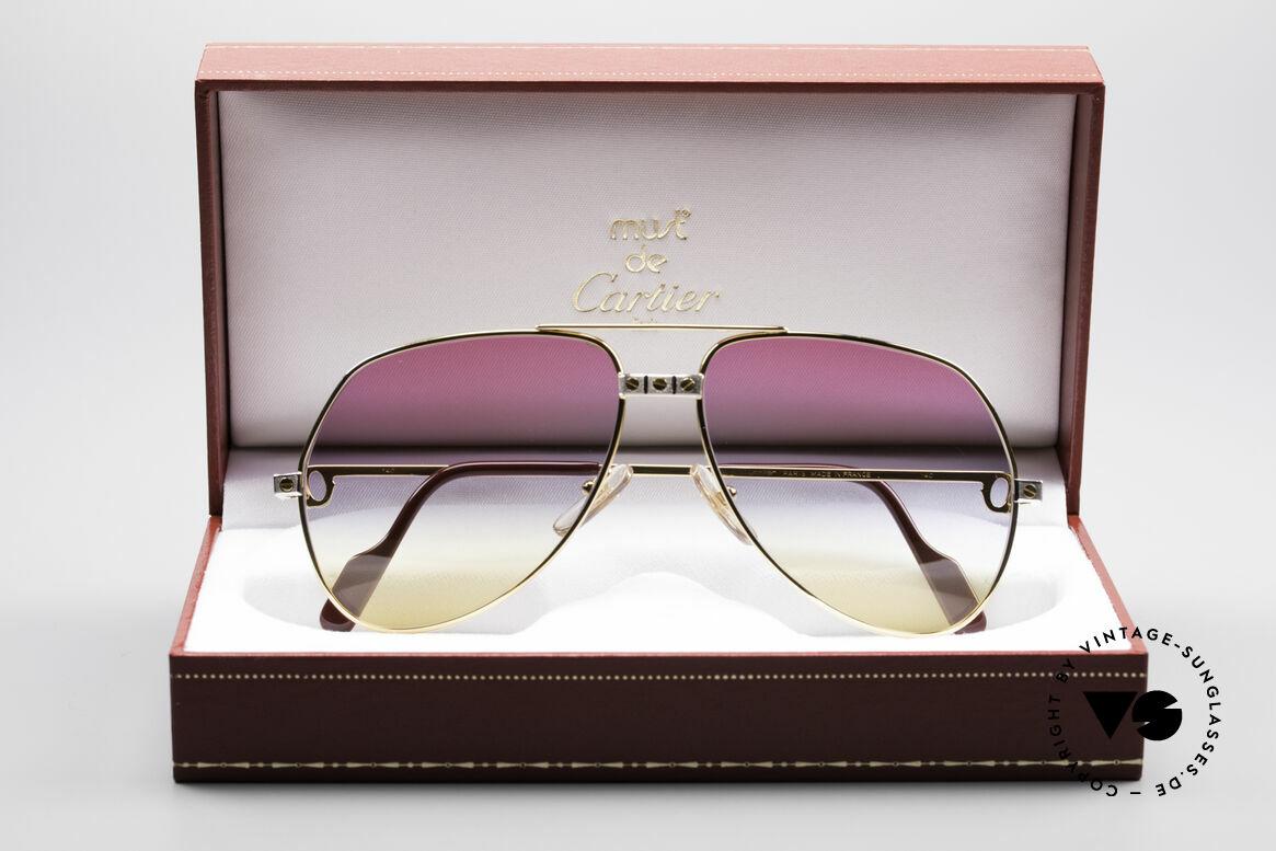 Cartier Vendome Santos - M Rare 80's Aviator Sunglasses, ultra rare, new TRICOLOR customized GRADIENT lenses, Made for Men and Women