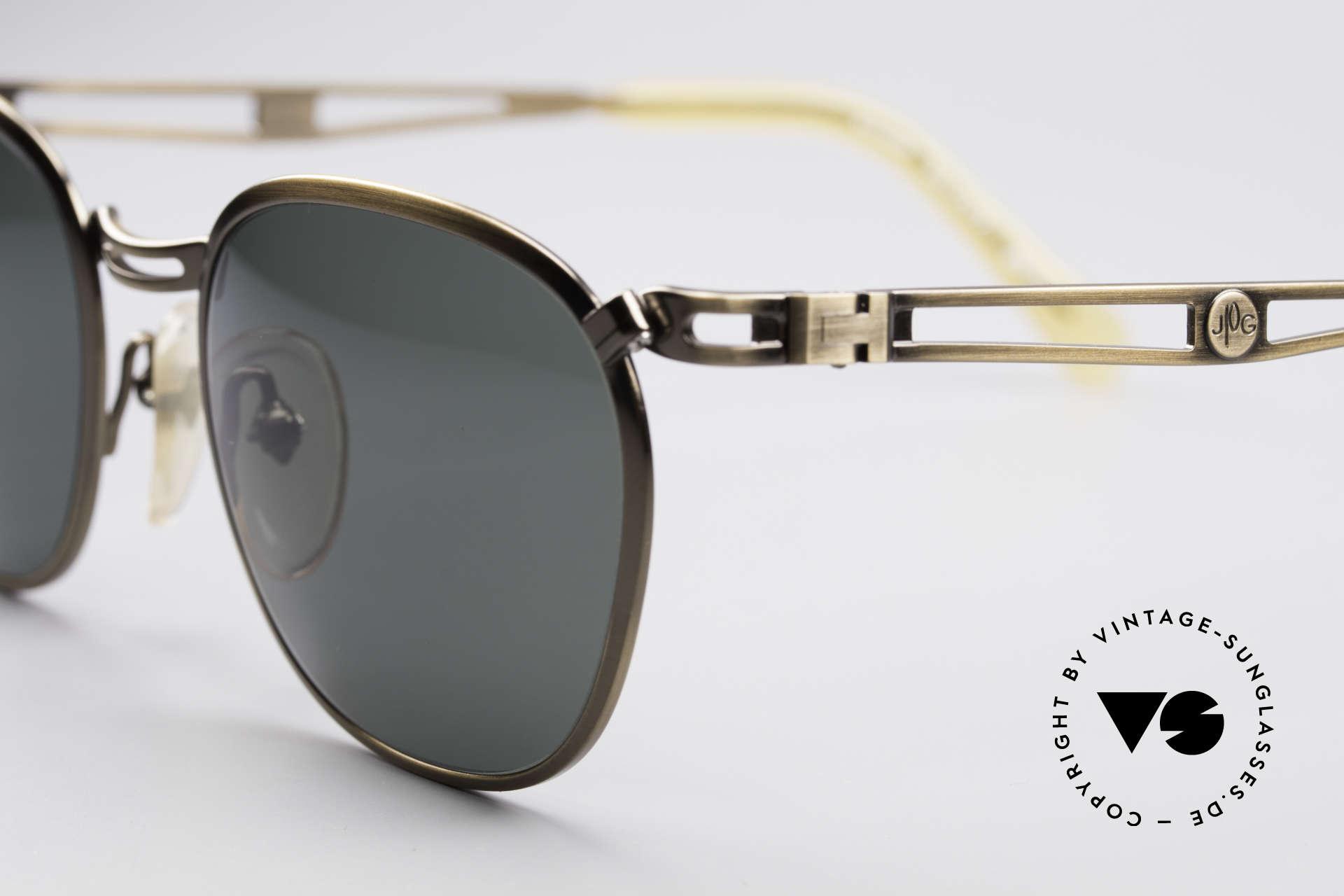 Jean Paul Gaultier 56-2177 90's Designer Sunglasses, brushed brass frame & dark green-gray sun lenses, Made for Men and Women