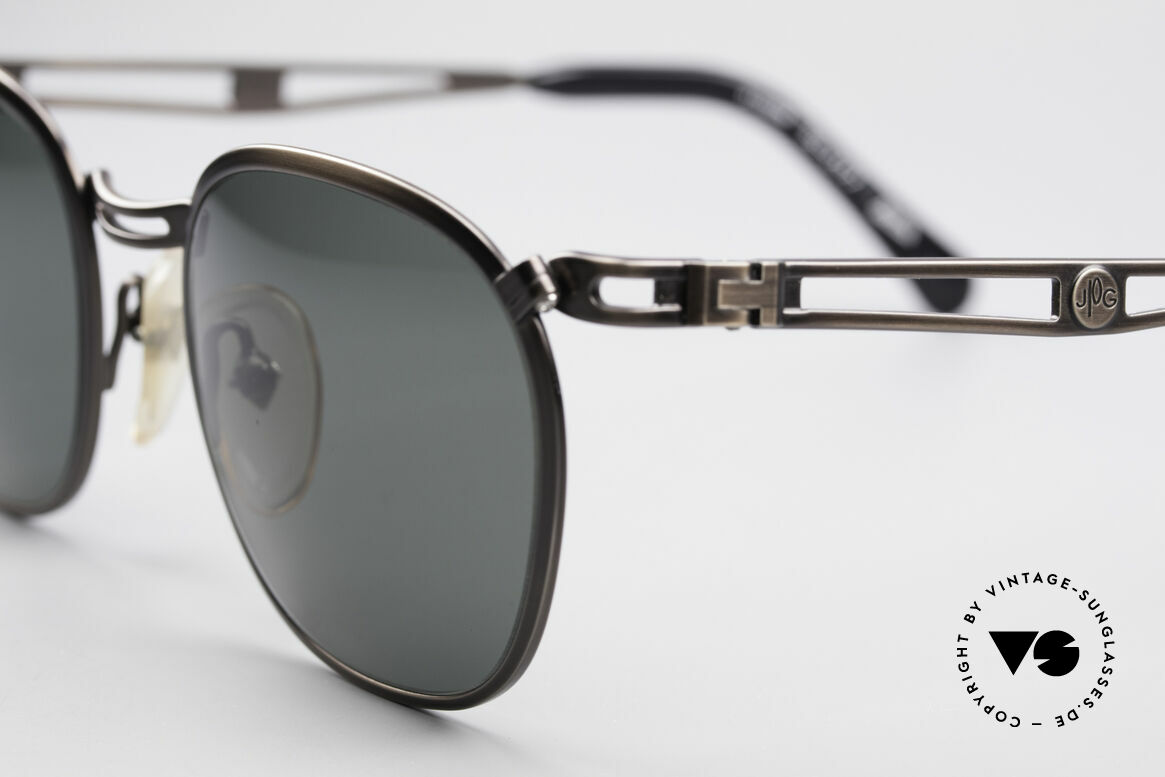 Jean Paul Gaultier 56-2177 Rare Designer Sunglasses, brushed gunmetal and dark green-gray sun lenses, Made for Men and Women