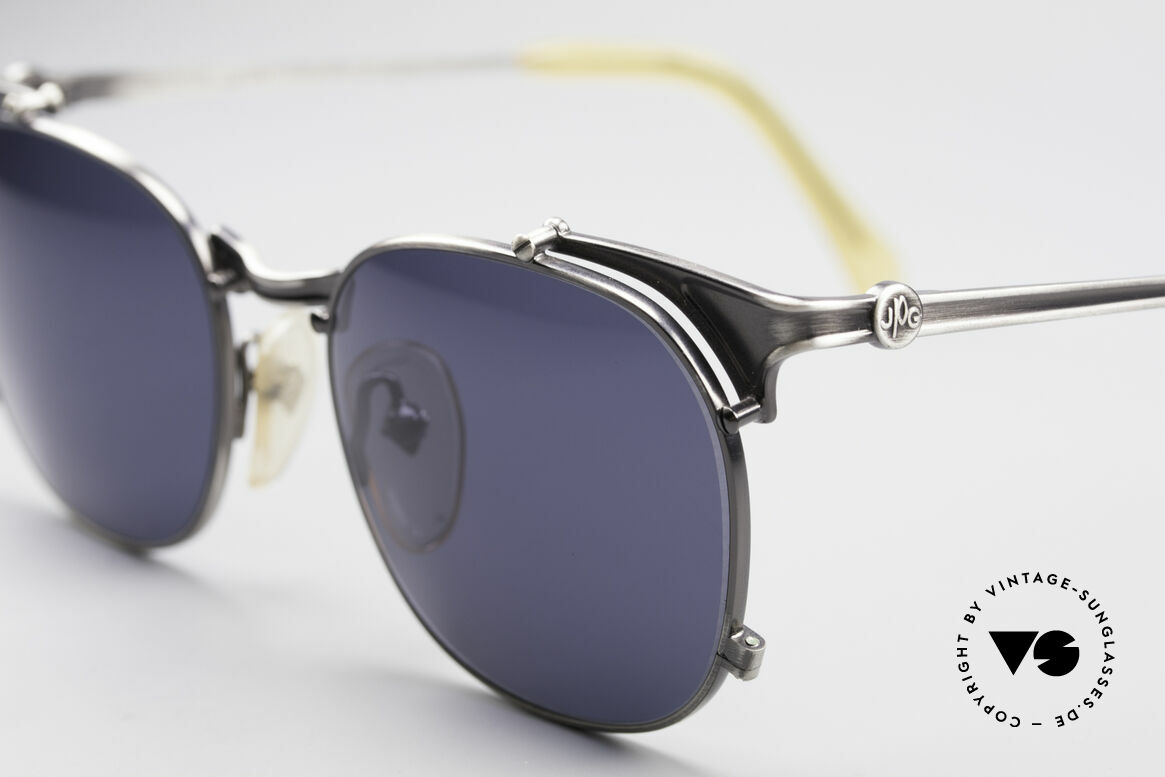Jean Paul Gaultier 56-2175 90's Designer Sunglasses, gunmetal frame with dark blue/gray sun lenses, Made for Men and Women