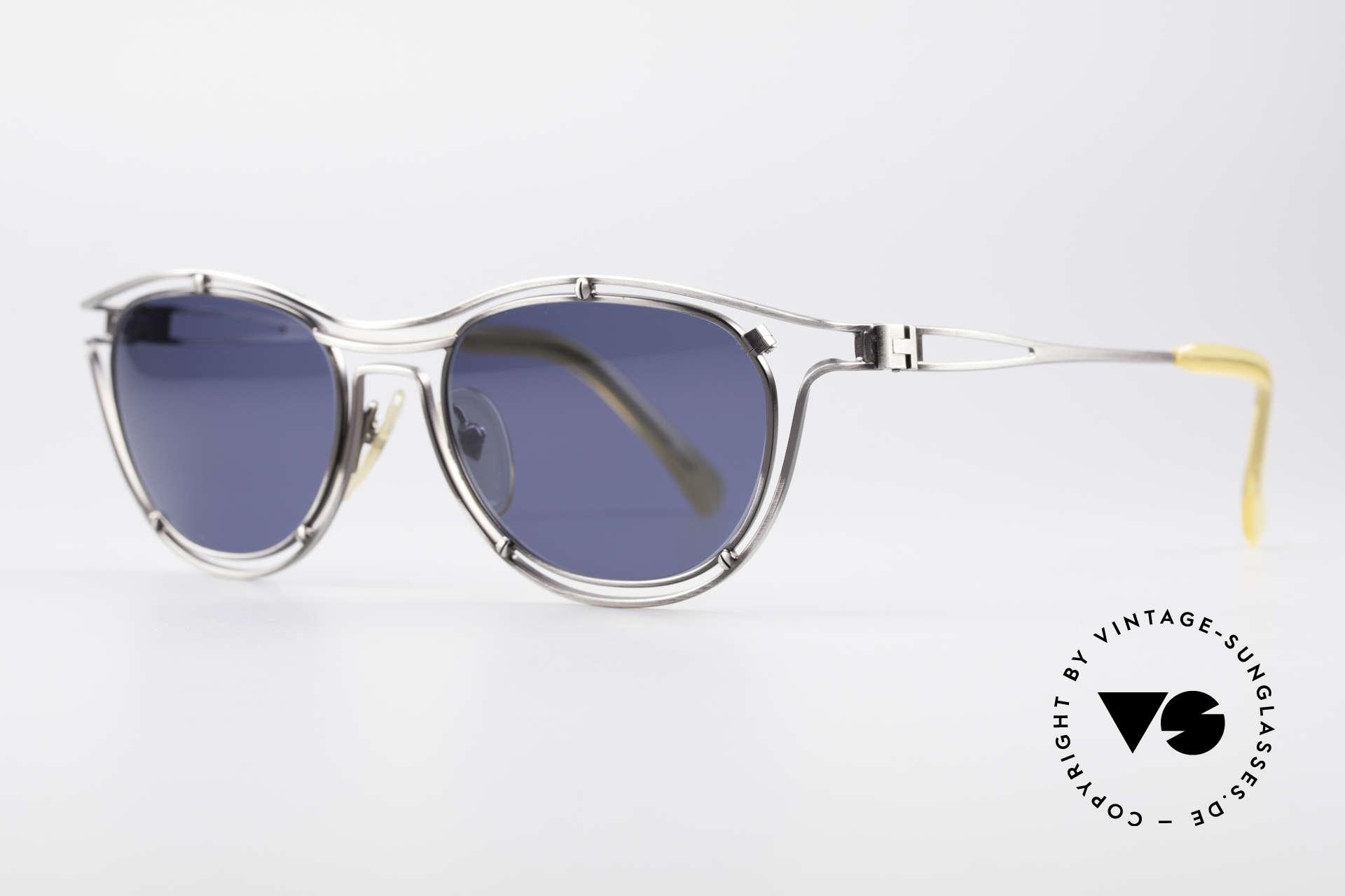 Jean Paul Gaultier 56-2176 True Designer Sunglasses, brushed titan with dark-blue sun lenses; 100% UV, Made for Men and Women