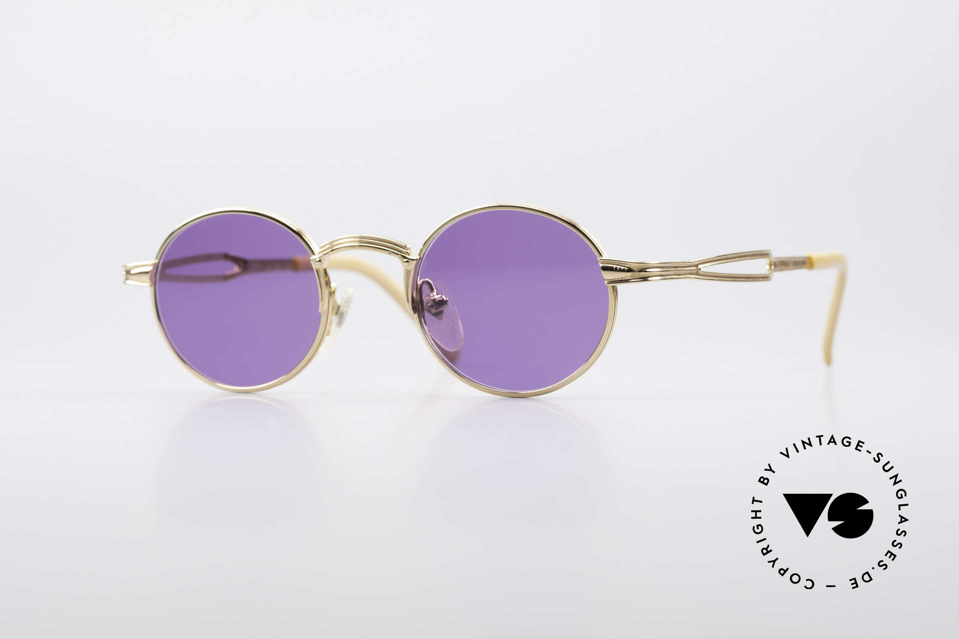 Jean Paul Gaultier 55-7107 Extra Small Round Gold Plated, small round vintage shades by Jean Paul GAULTIER, Made for Men and Women