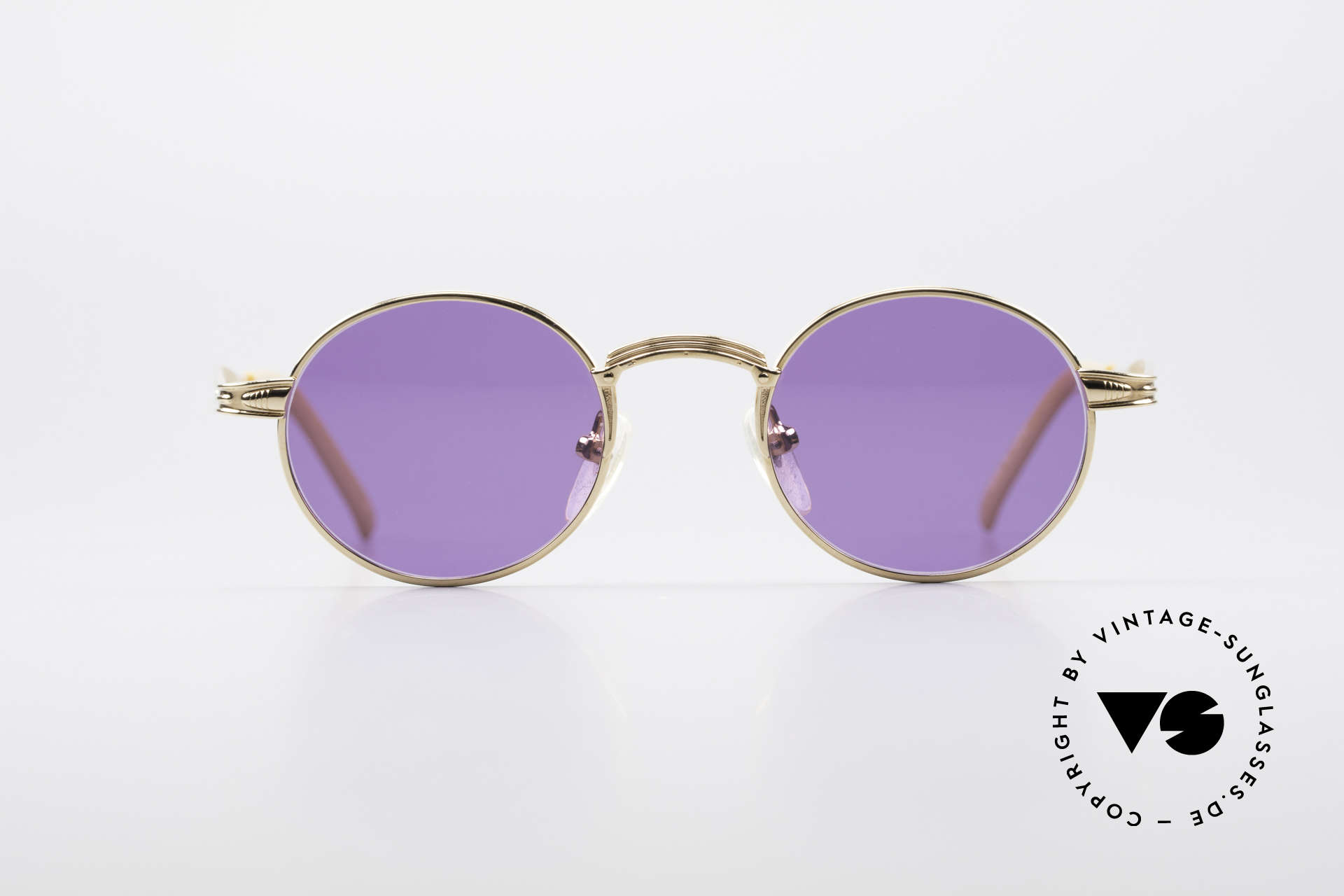Jean Paul Gaultier 55-7107 Extra Small Round Gold Plated, GP: gold-plated metal frame; extra small size 42/20, Made for Men and Women