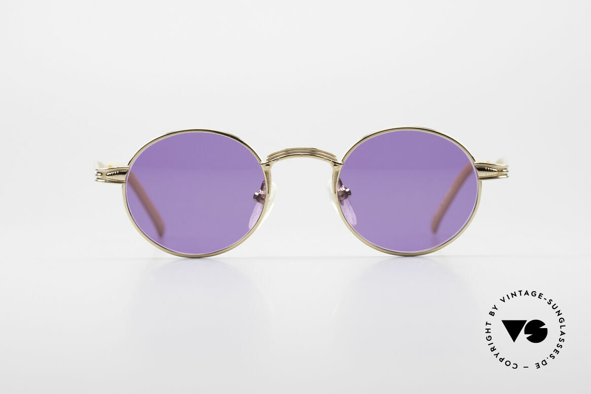 Jean Paul Gaultier 55-7107 Small Round Gold Plated, GP: GOLD PLATED metal frame in small size 44-20, Made for Men and Women