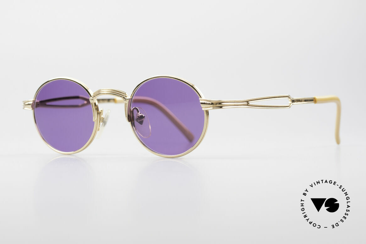 Jean Paul Gaultier 55-7107 Small Round Gold Plated, fancy purple-colored sun lenses (100% UV protect.), Made for Men and Women