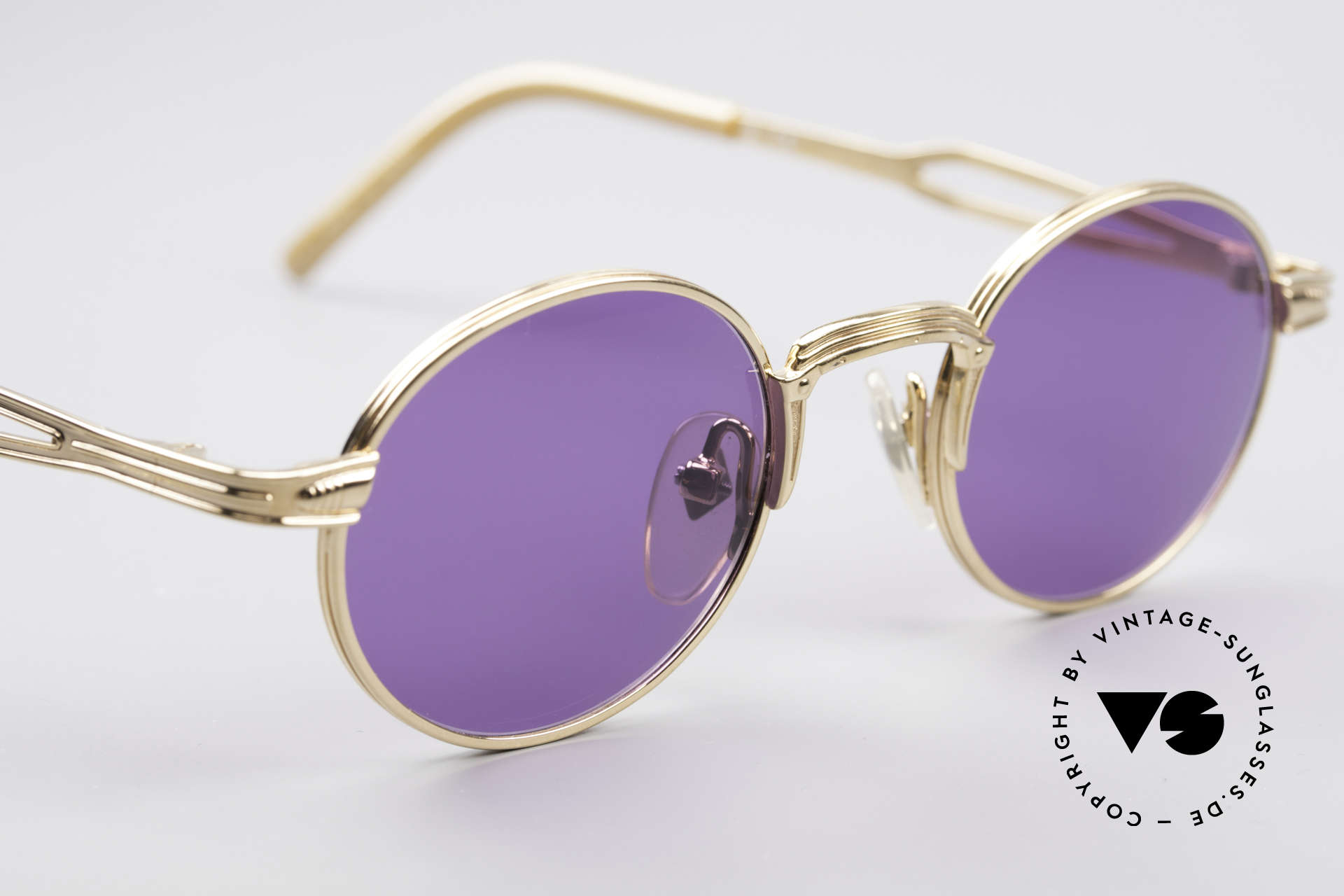 Jean Paul Gaultier 55-7107 Small Round Gold Plated, unworn (like all our vintage GAULTIER sunglasses), Made for Men and Women
