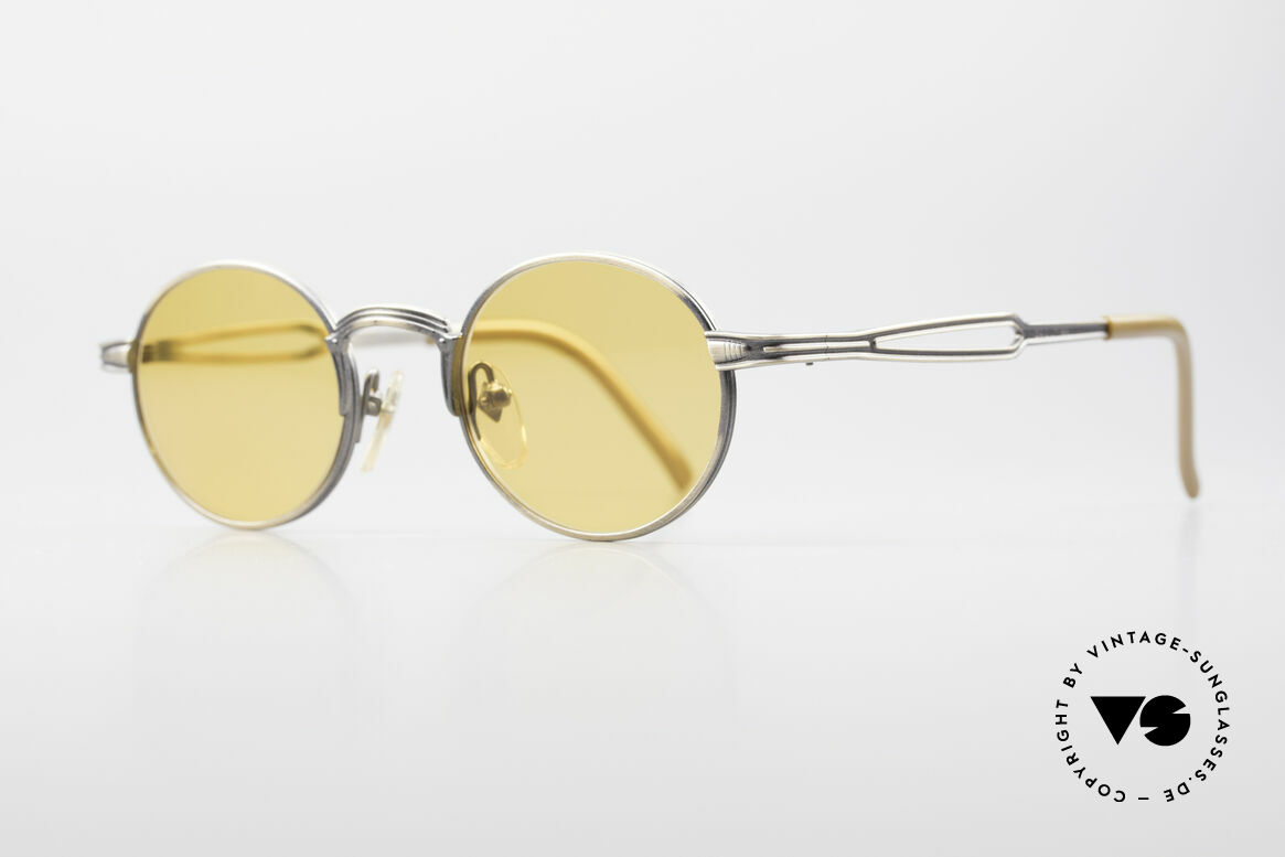 Jean Paul Gaultier 55-7107 Round Vintage Sunglasses, fancy orange sun lenses (also wearable at night), Made for Men and Women