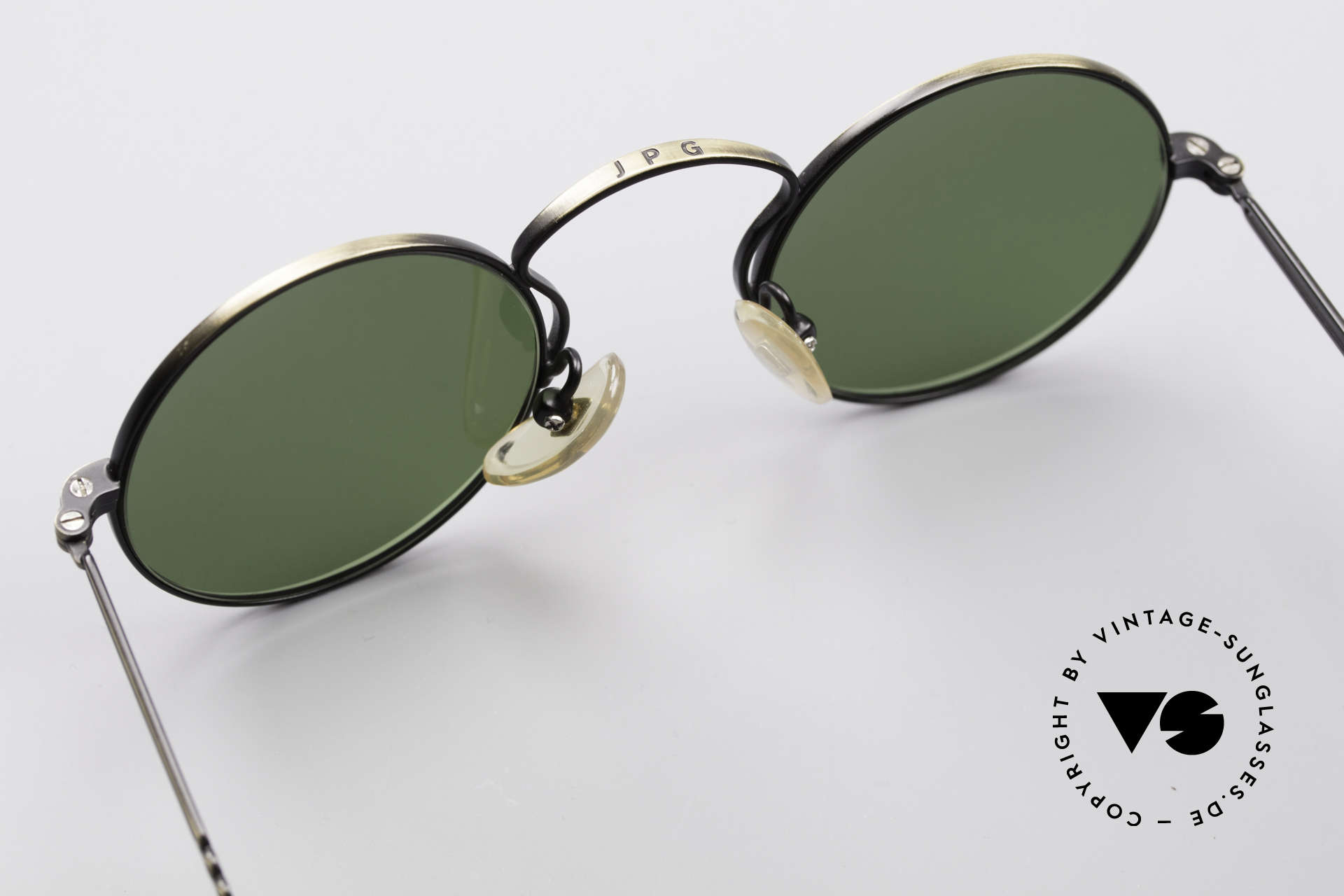 Jean Paul Gaultier 55-0172 90's Designer Sunglasses, green sun lenses can be replaced with prescriptions, Made for Men and Women