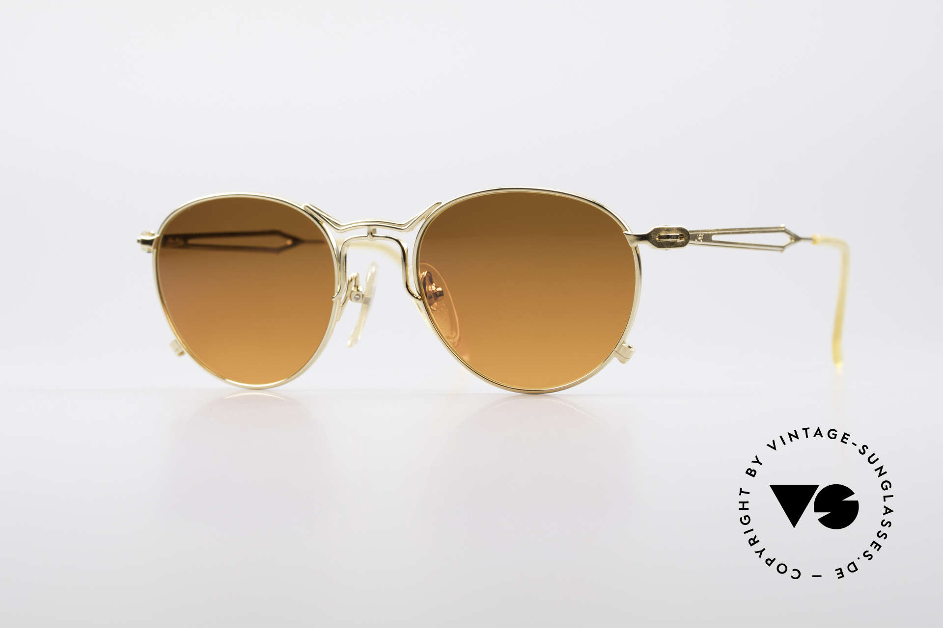 Jean Paul Gaultier 55-2177 Gold Plated Designer Frame, extraordinary vintage J.P. Gaultier designer sunglasses, Made for Men and Women