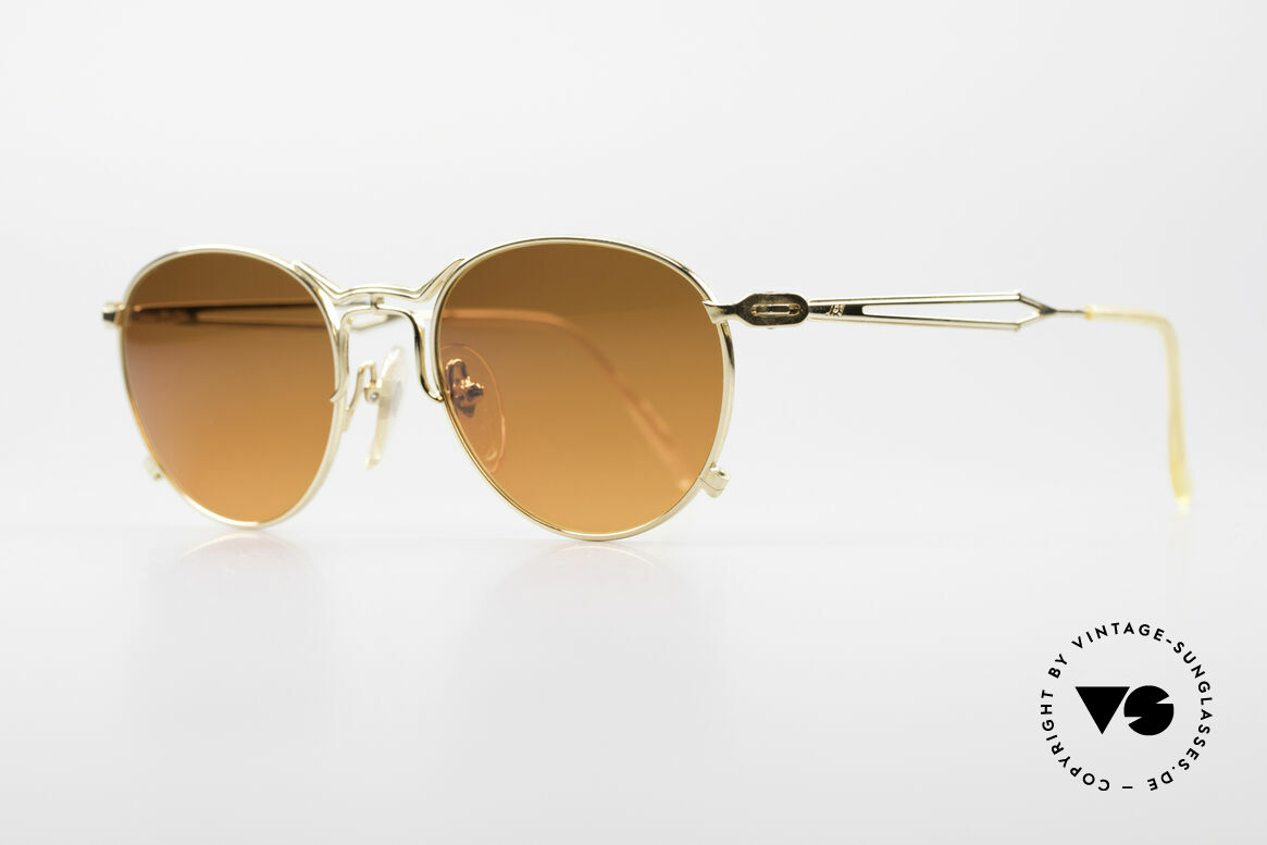 Jean Paul Gaultier 55-2177 Gold Plated Designer Frame, the sun lenses are tinted like a sunset (auburn gradient), Made for Men and Women