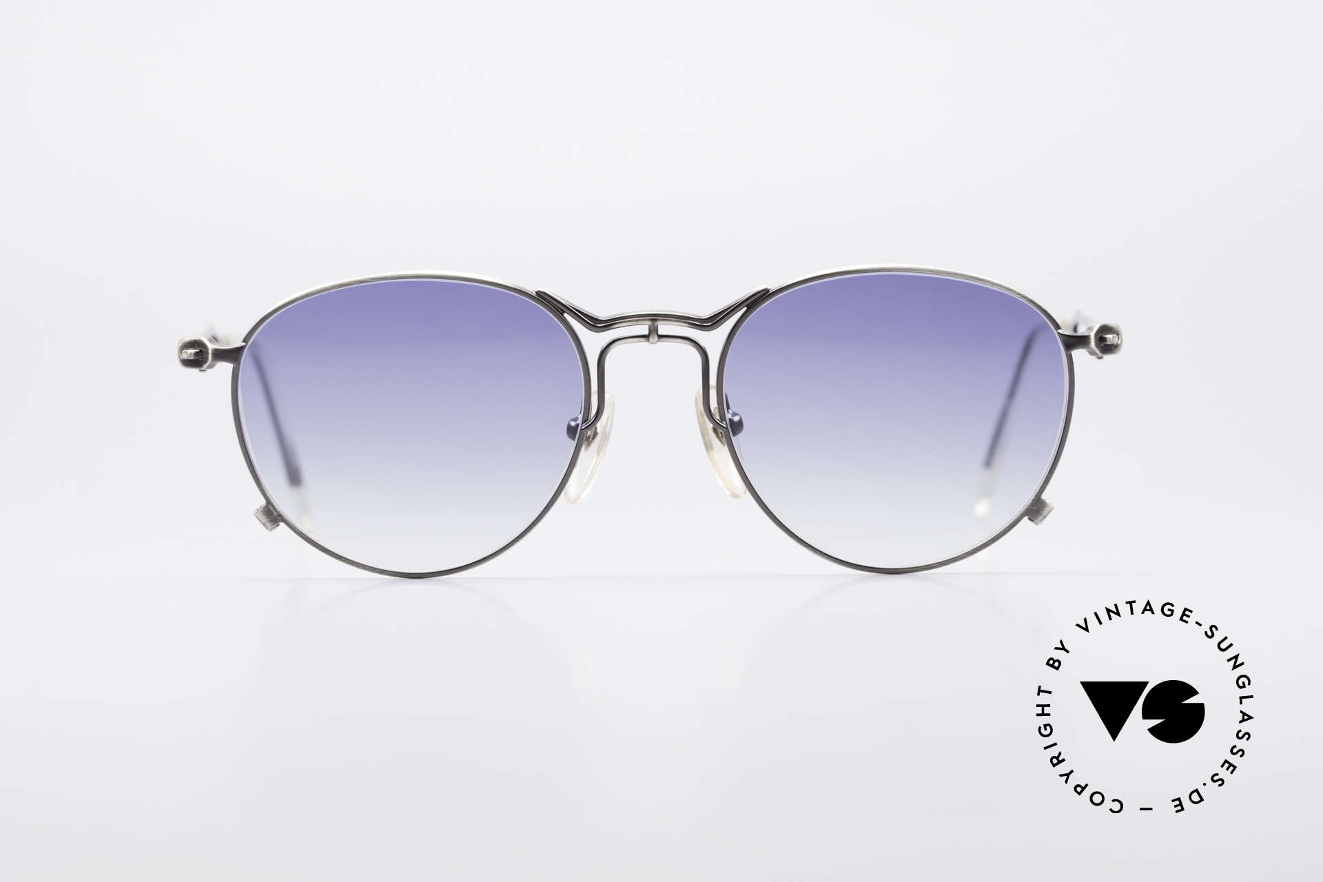 Jean Paul Gaultier 55-2177 Rare Designer Sunglasses, costly, unique frame finish: METALLIC SMOKE SILVER, Made for Men and Women