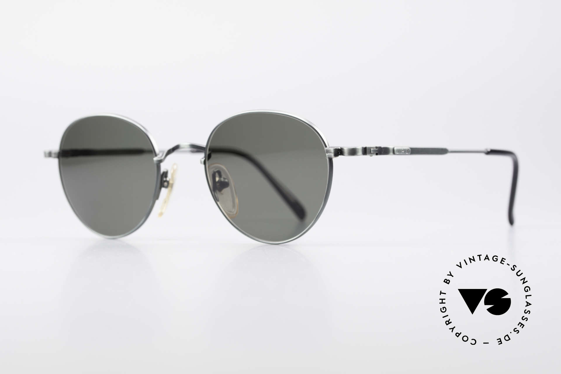 Jean Paul Gaultier 55-1174 Round Vintage Sunglasses, fir green frame with dark green sun lenses (100% UV), Made for Men and Women