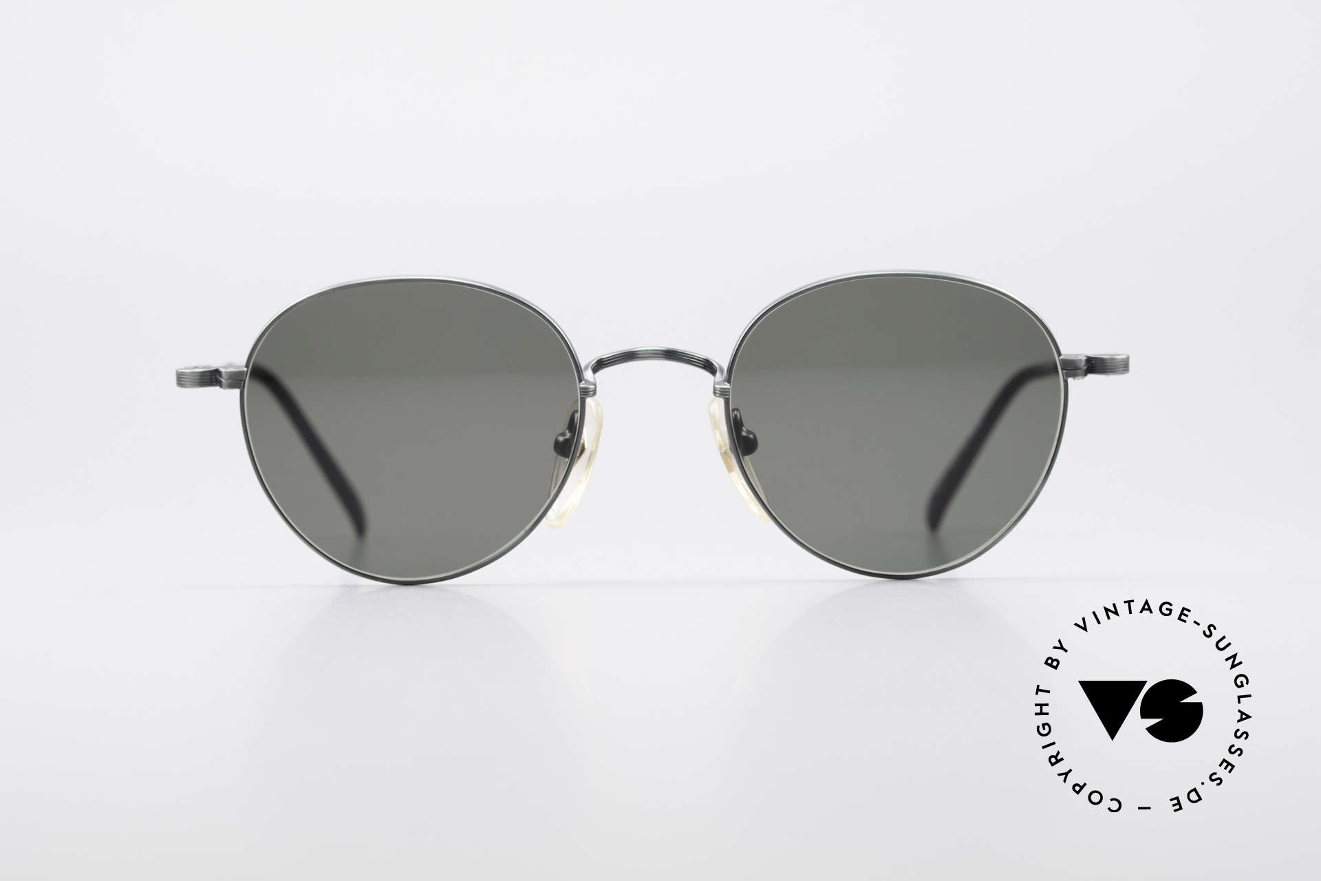 Jean Paul Gaultier 55-1174 Round Vintage Sunglasses, costly, unique frame finish: METALLIC SMOKE GREEN, Made for Men and Women