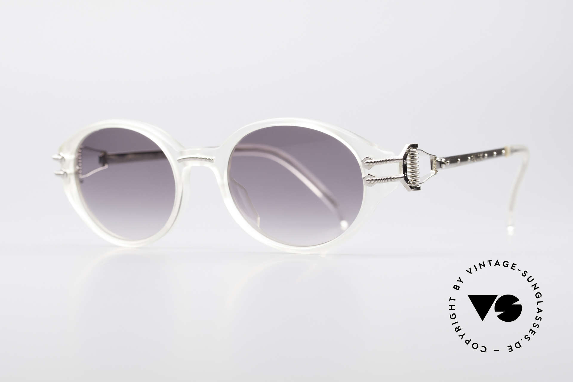 Jean Paul Gaultier 55-5201 90's Steampunk Shades, 'crystal' plastic front with silver metal components, Made for Men and Women