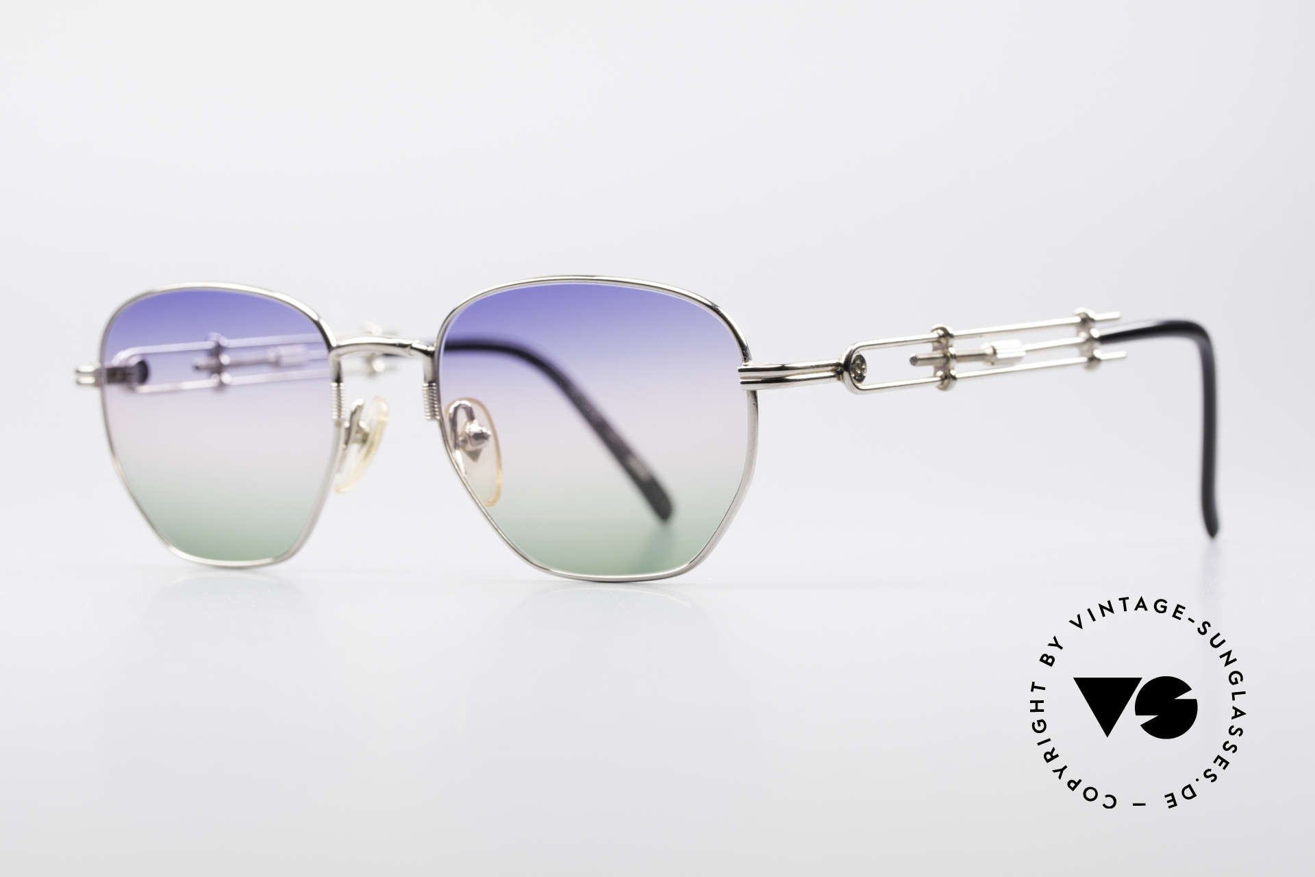 Jean Paul Gaultier 55-4174 Adjustable Vintage Frame, ultra rare TRICOLOR customized GRADIENT lenses, Made for Men and Women