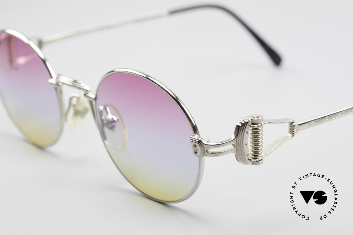 Jean Paul Gaultier 55-5106 Designer Vintage Shades, ultra rare, new TRICOLOR customized GRADIENT lenses, Made for Men and Women