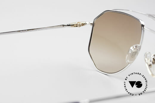 Zollitsch Cadre 120 Large 80's Aviator Shades, silver frame with light (fawn) brown gradient sun lenses, Made for Men