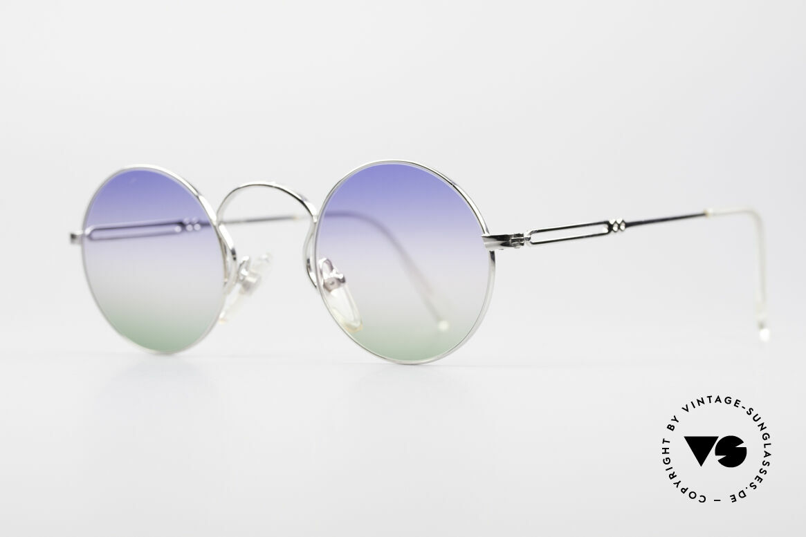 Jean Paul Gaultier 55-0172 Round Designer Sunglasses, high-class shiny frame finish (silver chrome-plated), Made for Men and Women