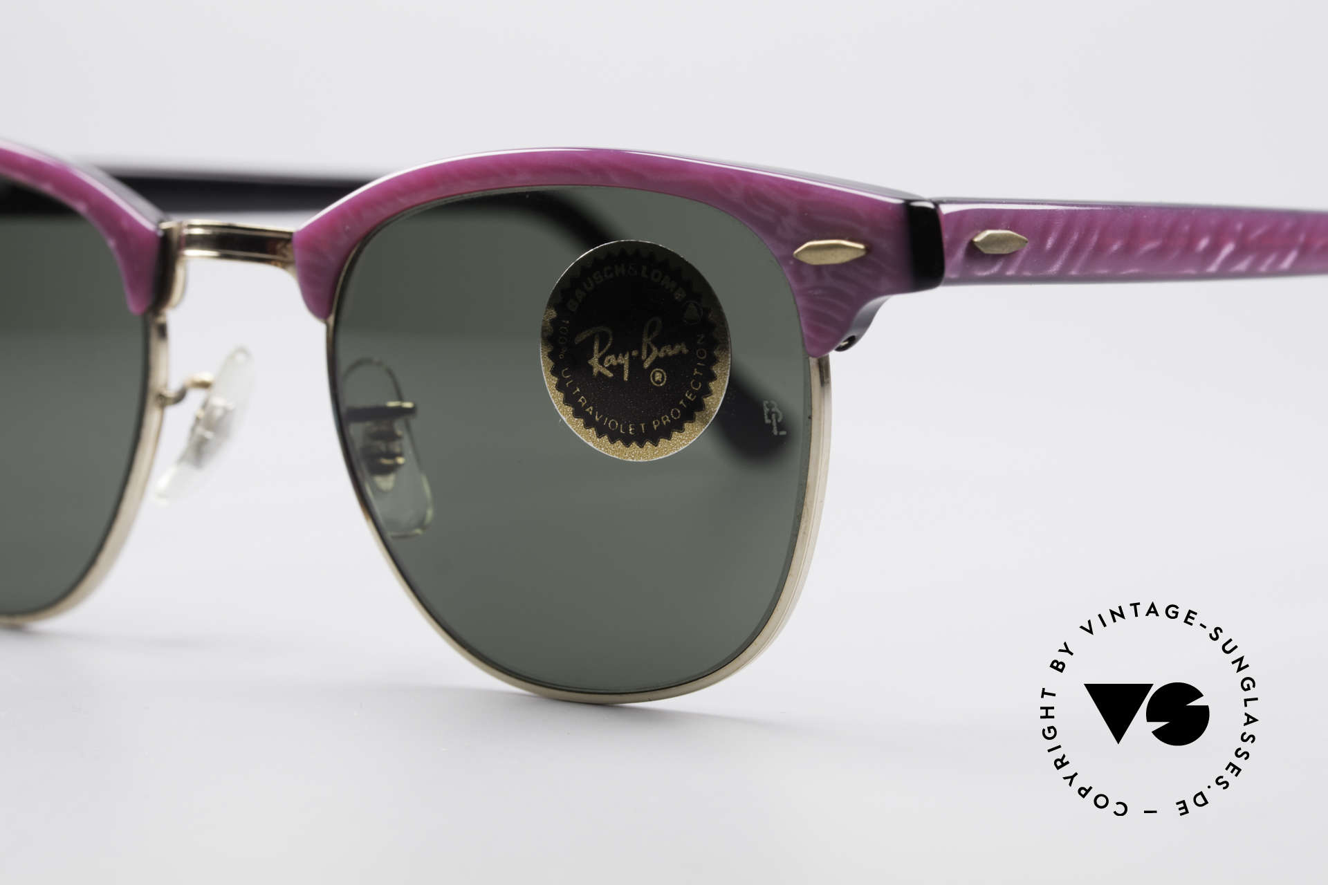 """Ray Ban Clubmaster Bausch & Lomb USA Shades, ladies version with """"electric raspberry"""" coloring, Made for Women"""