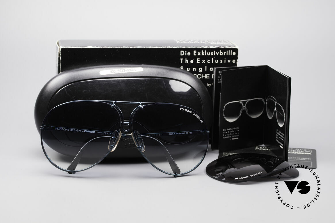 Porsche 5623 Rare 80's Aviator Sunglasses, with very rare interchangeable lenses in blue-gradient, Made for Men and Women