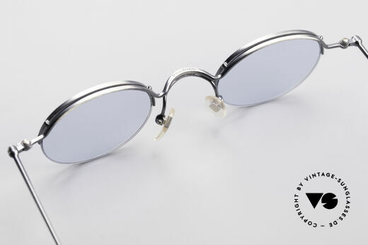 Jean Paul Gaultier 55-7108 Small Round Panto Glasses, blue sun lenses can be replaced with prescriptions, Made for Men and Women