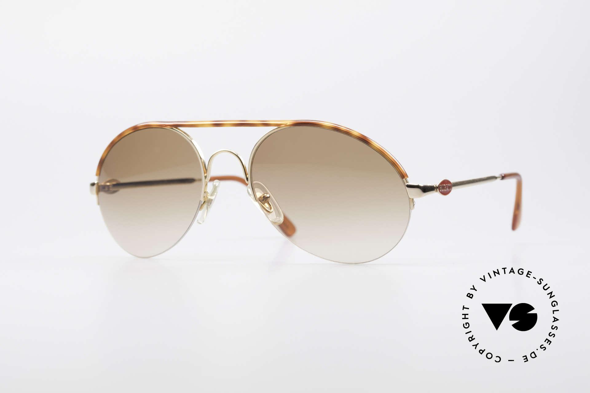 Bugatti 64919 90's Semi Rimless Sunglasses, very elegant vintage BUGATTI designer sunglasses, Made for Men