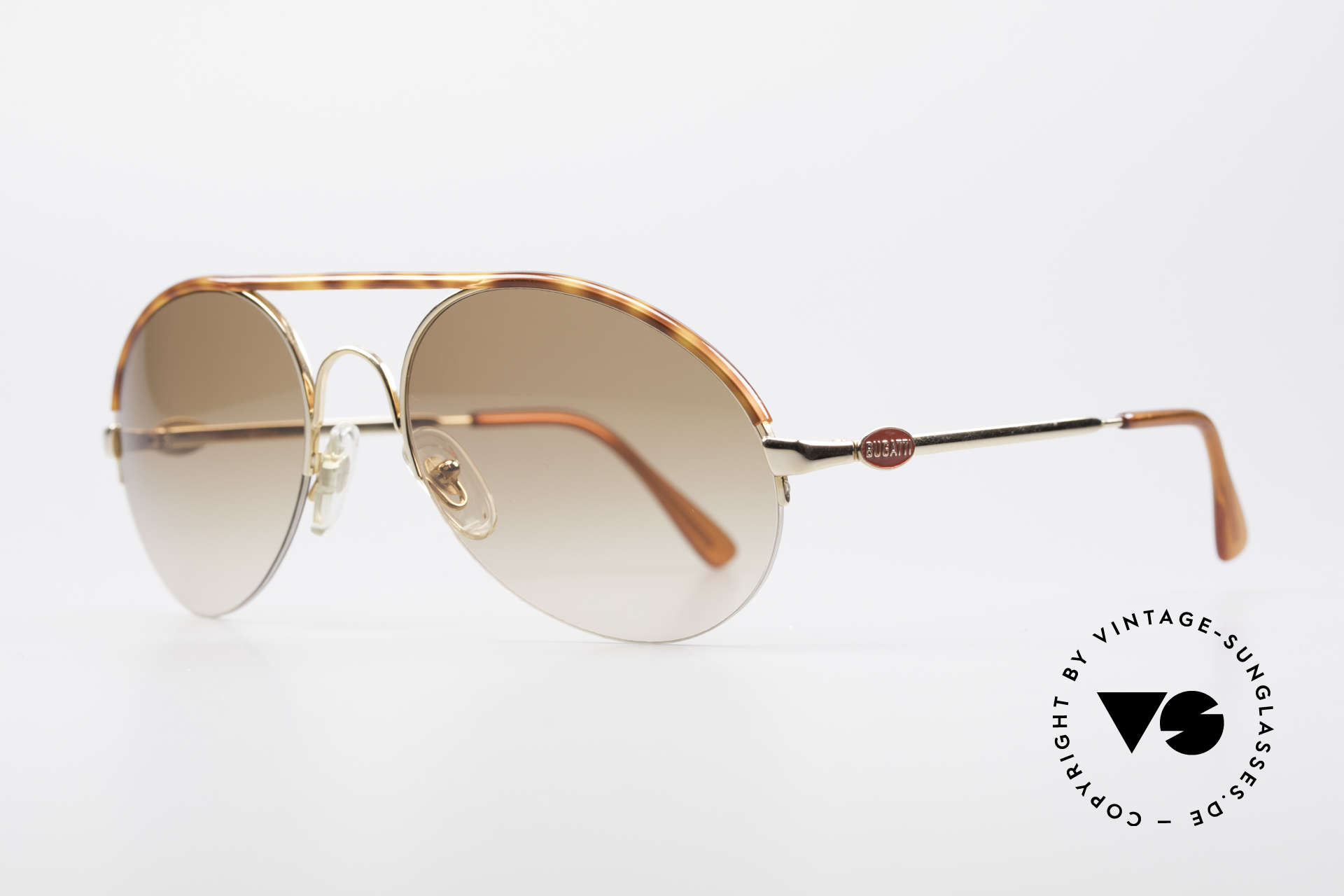 Bugatti 64919 90's Semi Rimless Sunglasses, gold-plated with tortoise appliqué and red B-logos, Made for Men