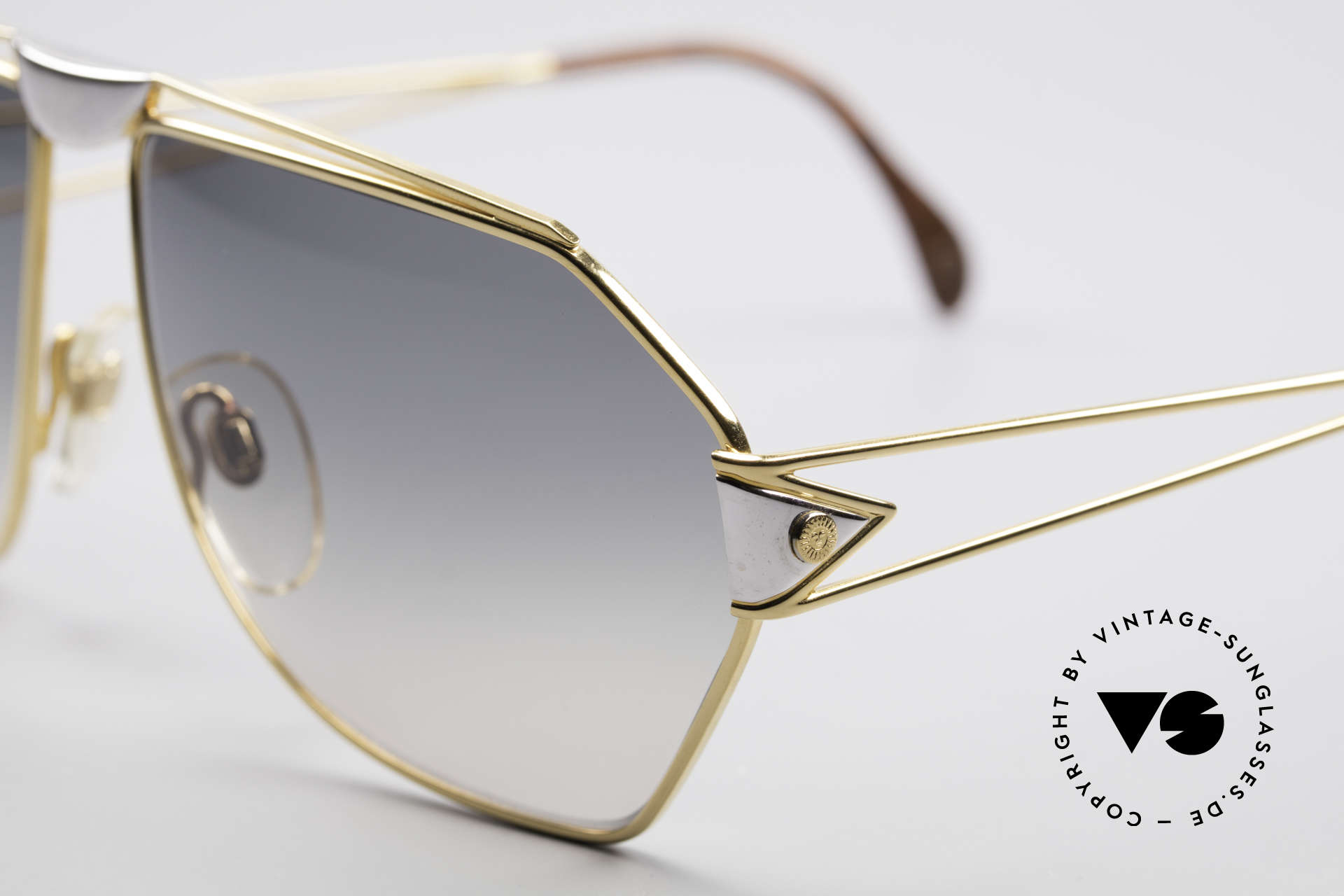 "St. Moritz 403 80's Jupiter Sunglasses, precious materials (gold-plated and ""root wood"" decor), Made for Men"