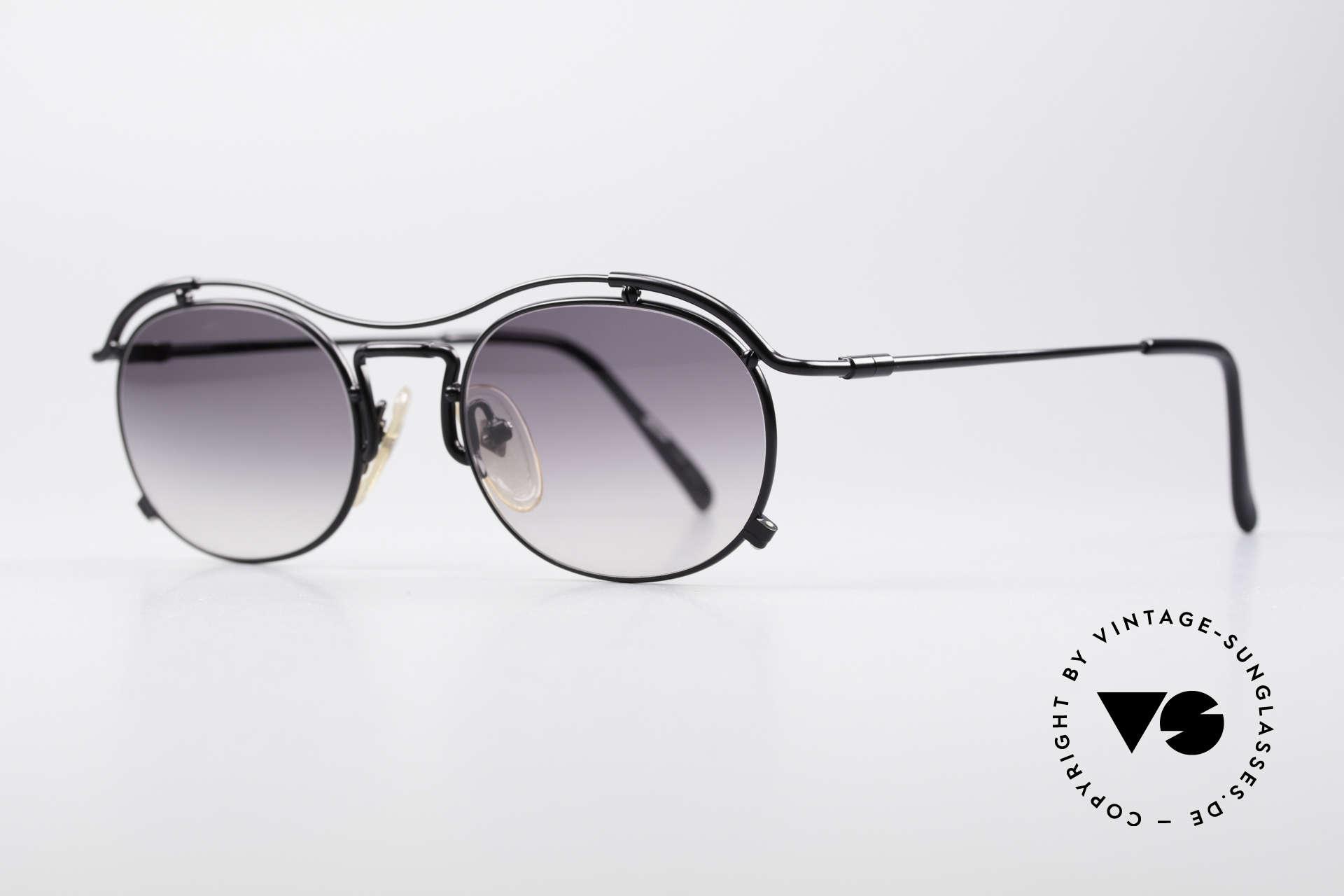 Jean Paul Gaultier 55-2170 Vintage JPG Sunglasses, black finish and noble gray-gradient sun lenses, Made for Men and Women