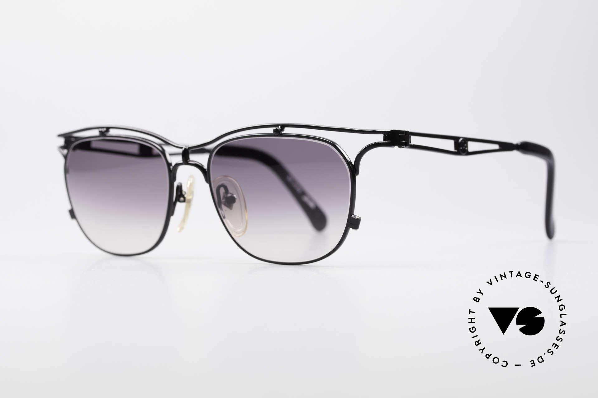 Jean Paul Gaultier 55-2178 No Retro JPG Vintage Frame, black metallic finish and gray-gradient sun lenses, Made for Men and Women