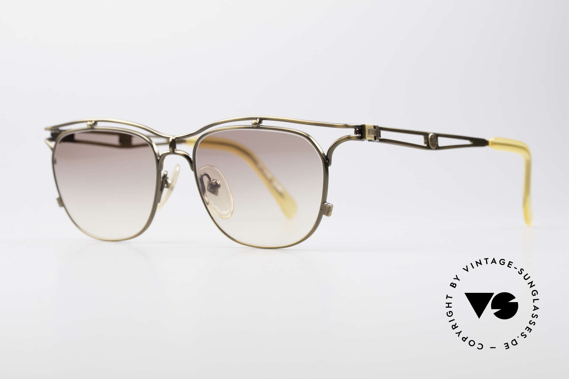 "Jean Paul Gaultier 55-2178 90's Vintage JPG Sunglasses, JPG color: smoke gold, burnt gold or ""antique gold"", Made for Men and Women"