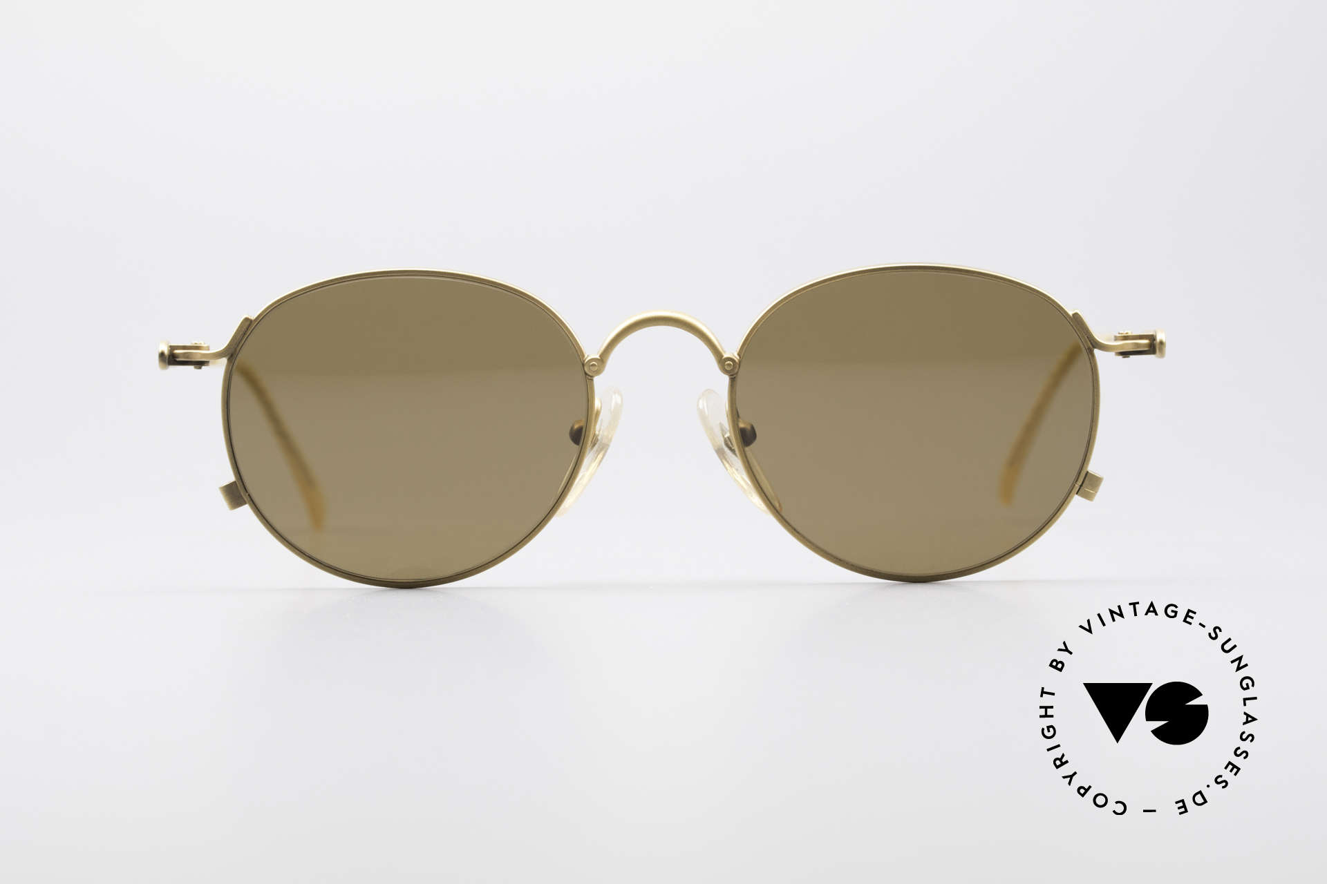 Jean Paul Gaultier 55-2172 Vintage Round JPG Sunglasses, ornamentally twisted temples (like a hawser), Made for Men and Women