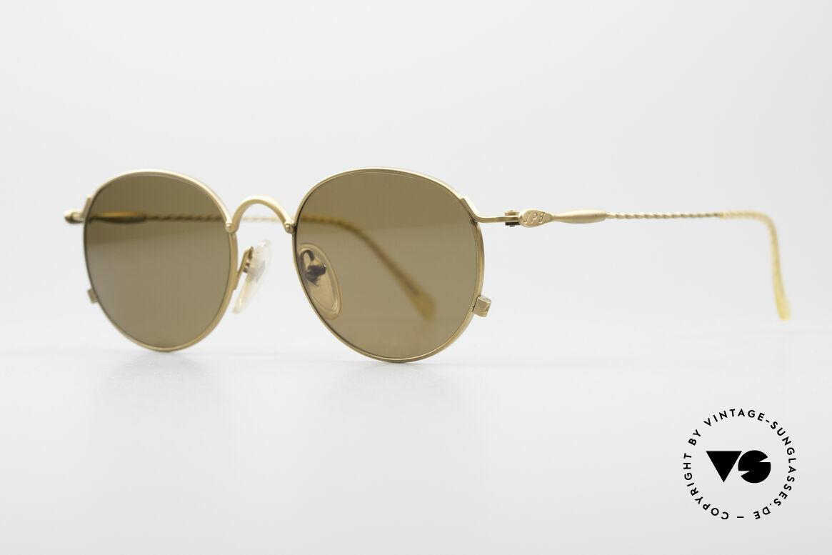 Jean Paul Gaultier 55-2172 Vintage Round JPG Sunglasses, matt gold JPG frame in high-end quality; vertu, Made for Men and Women