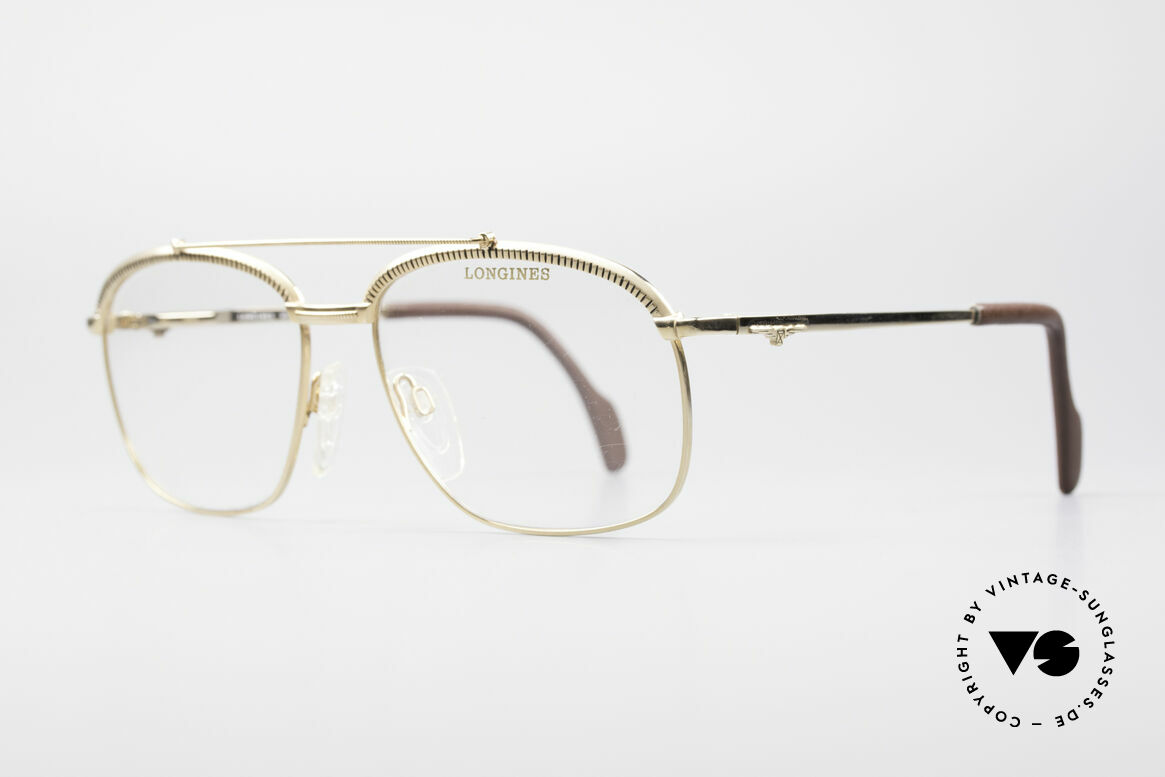 Longines 0172 80's Luxury Eyeglasses, spring hinges and temple ends are covered with leather, Made for Men