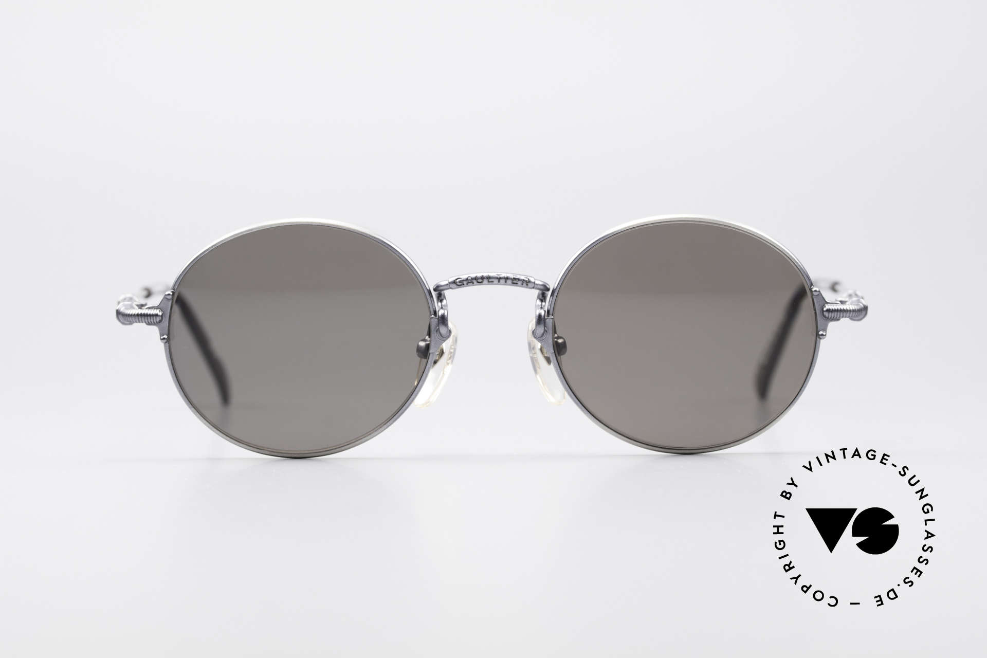 "Jean Paul Gaultier 55-6109 Small Polarized Glasses, ""smoke silver"" metal frame in small size 48-19, 136, Made for Men and Women"