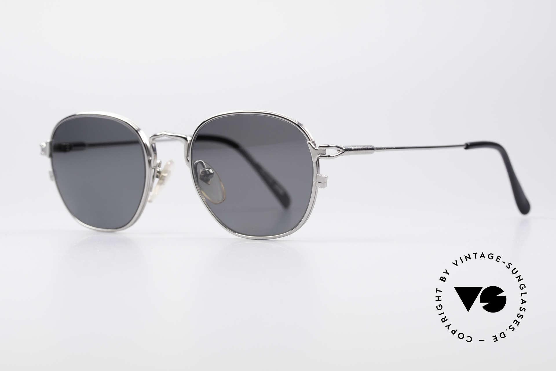 Jean Paul Gaultier 55-3182 Titanium Frame Polarized, silver chrome plated frame finish + polarized sun lenses, Made for Men and Women