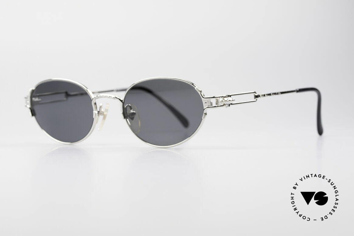 Jean Paul Gaultier 55-5108 Polarized Oval Sunglasses, sophisticated details (hinge like a gear-wheel), Made for Men and Women