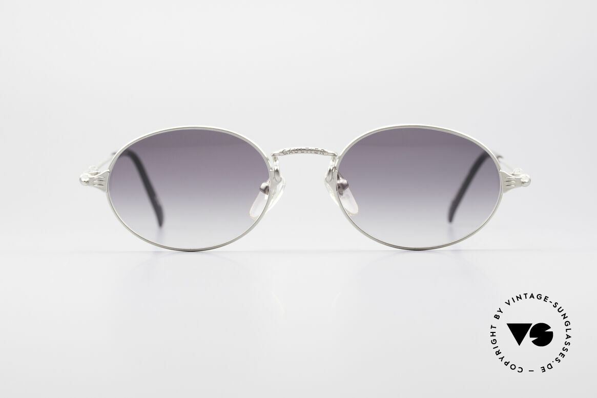 Jean Paul Gaultier 55-6108 Oval Vintage Sunglasses, lightweight frame with many fancy details (check pics), Made for Men and Women