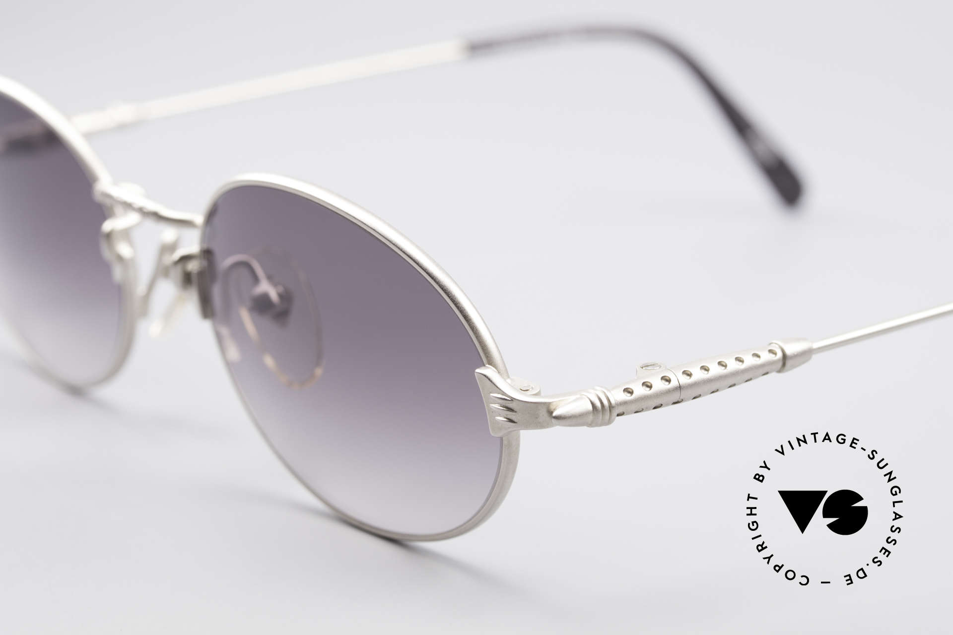 Jean Paul Gaultier 55-6108 Oval Vintage Sunglasses, high-end frame with gray-gradient sun lenses; 100% UV, Made for Men and Women