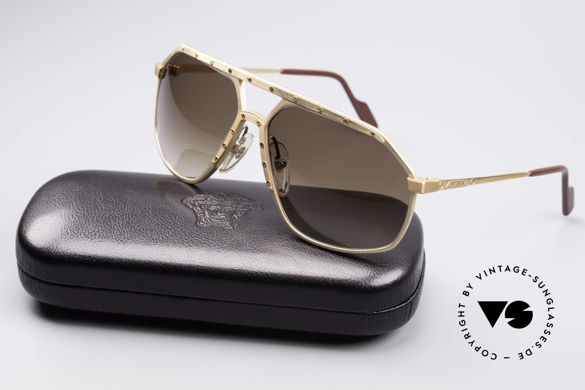 Alpina M6 Old 80's West Germany Shades, NO RETRO shades; handmade rarity + Versace case, Made for Men