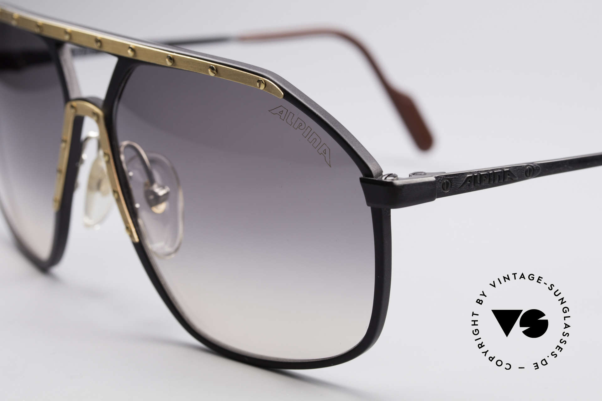 Alpina M1/7 Iconic Vintage Sunglasses, M1/7 was made from 1988 to 1992 in large size 64-15, Made for Men