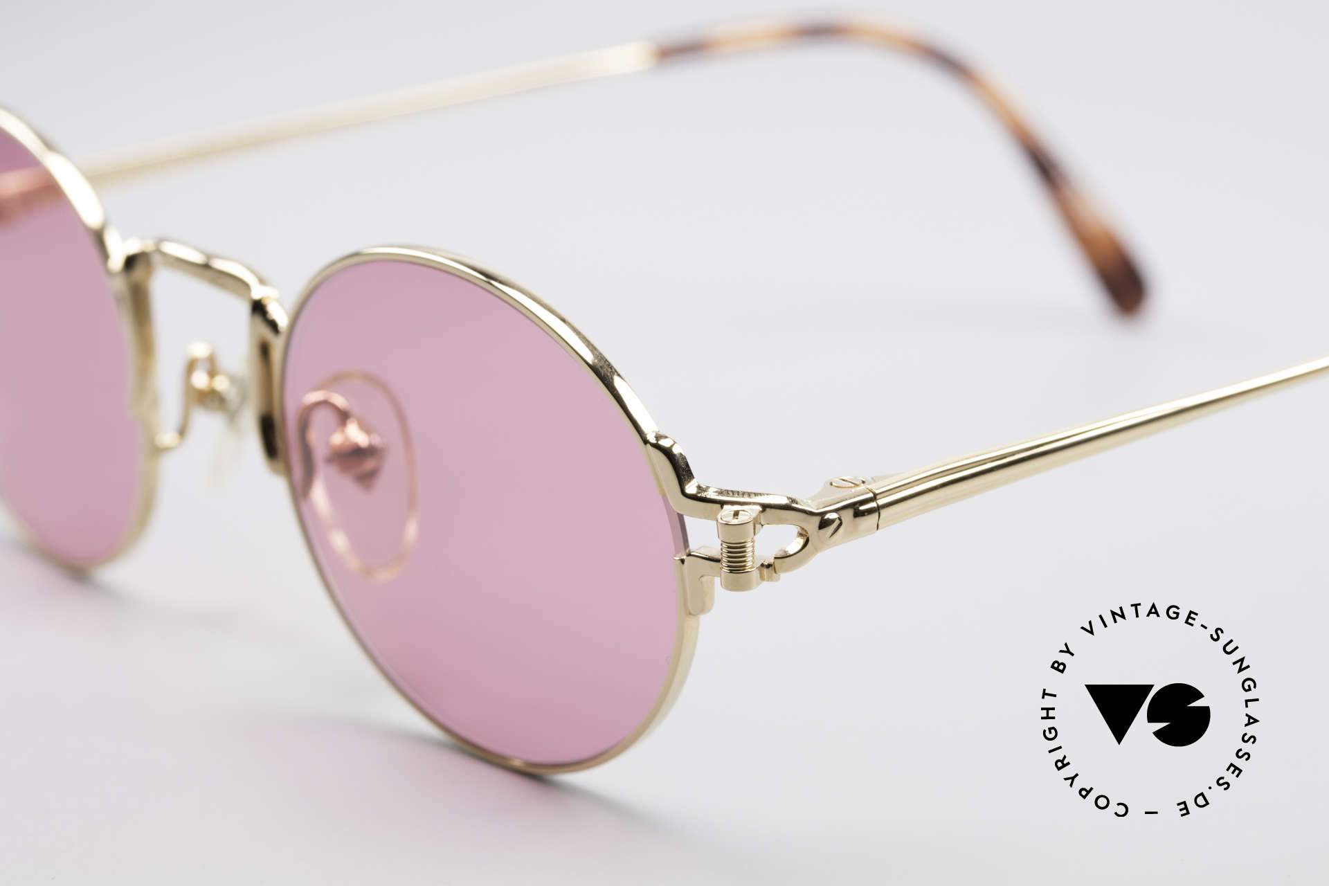 Jean Paul Gaultier 55-3171 Small Round Sunglasses, outstanding craftsmanship (22KT gold-plated frame), Made for Men and Women