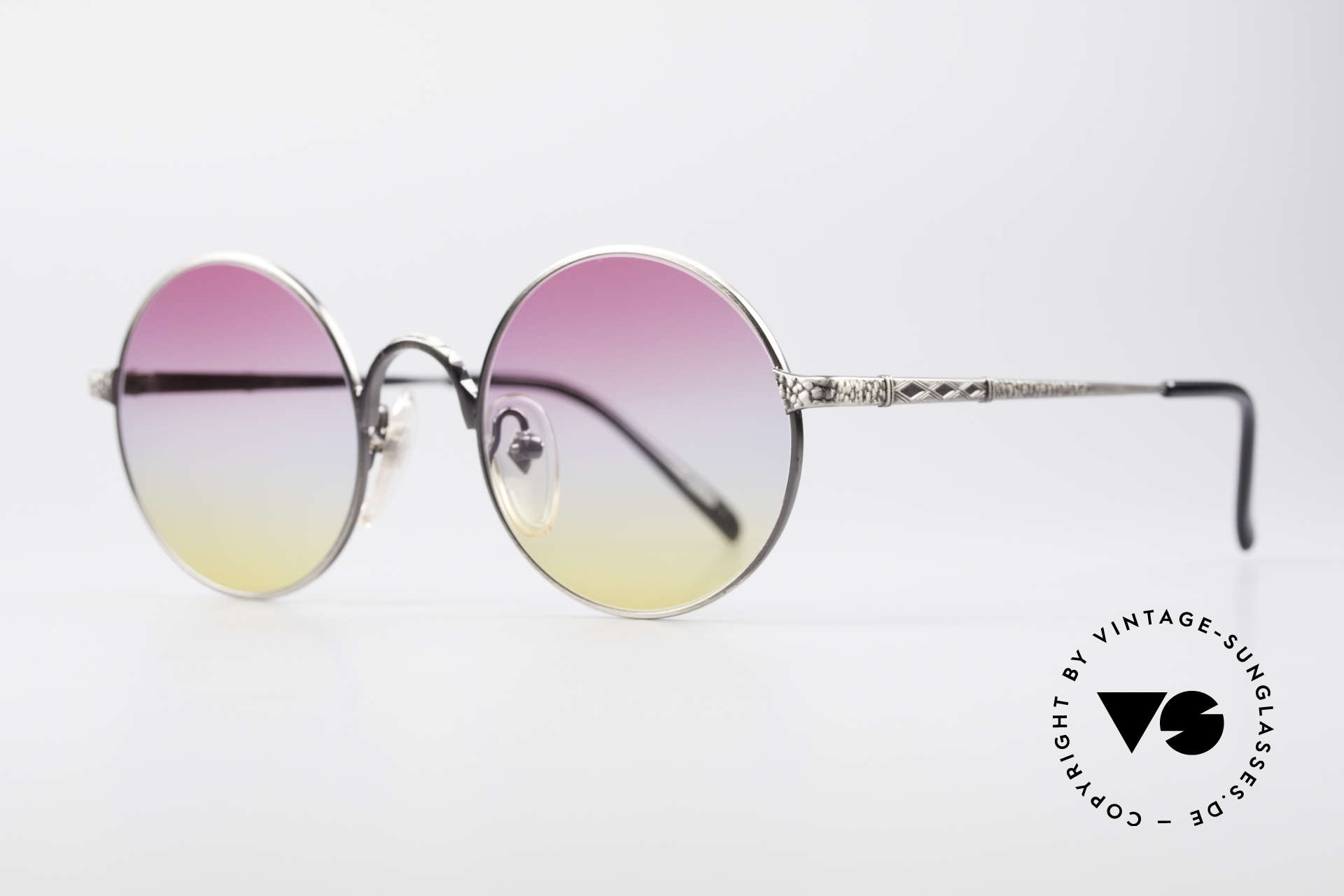Jean Paul Gaultier 55-9671 Round Designer Sunglasses, 'smoke silver' finish and tricolored sun lenses, Made for Men and Women