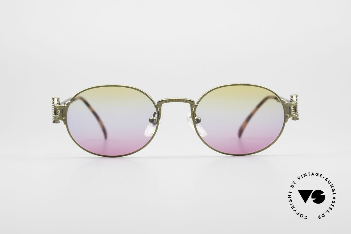 Jean Paul Gaultier 55-5110 Extraordinary Vintage Frame, spectacular frame design with tricolored lenses, Made for Men and Women