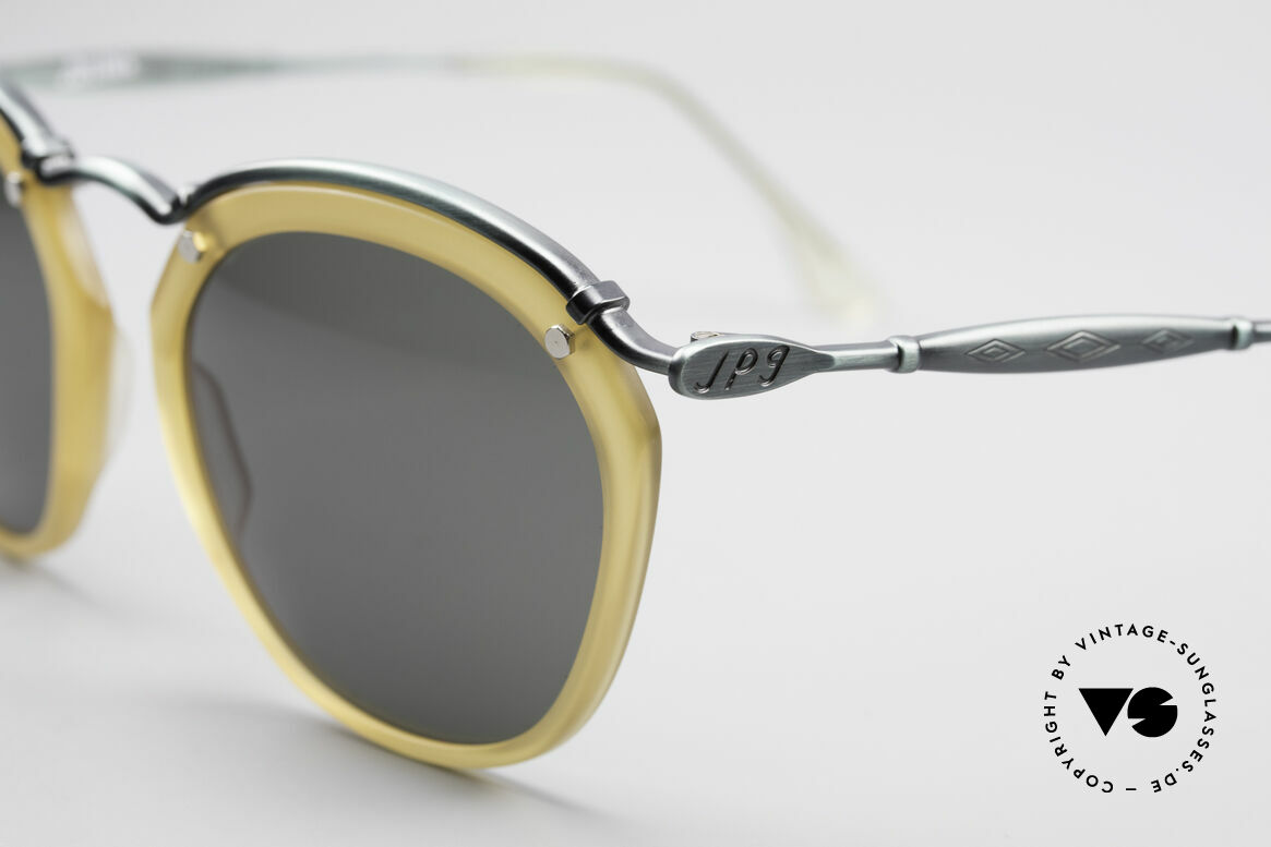 Jean Paul Gaultier 56-1273 Panto Style Sunglasses, smoke green metal frame & honey colored rings, Made for Men and Women