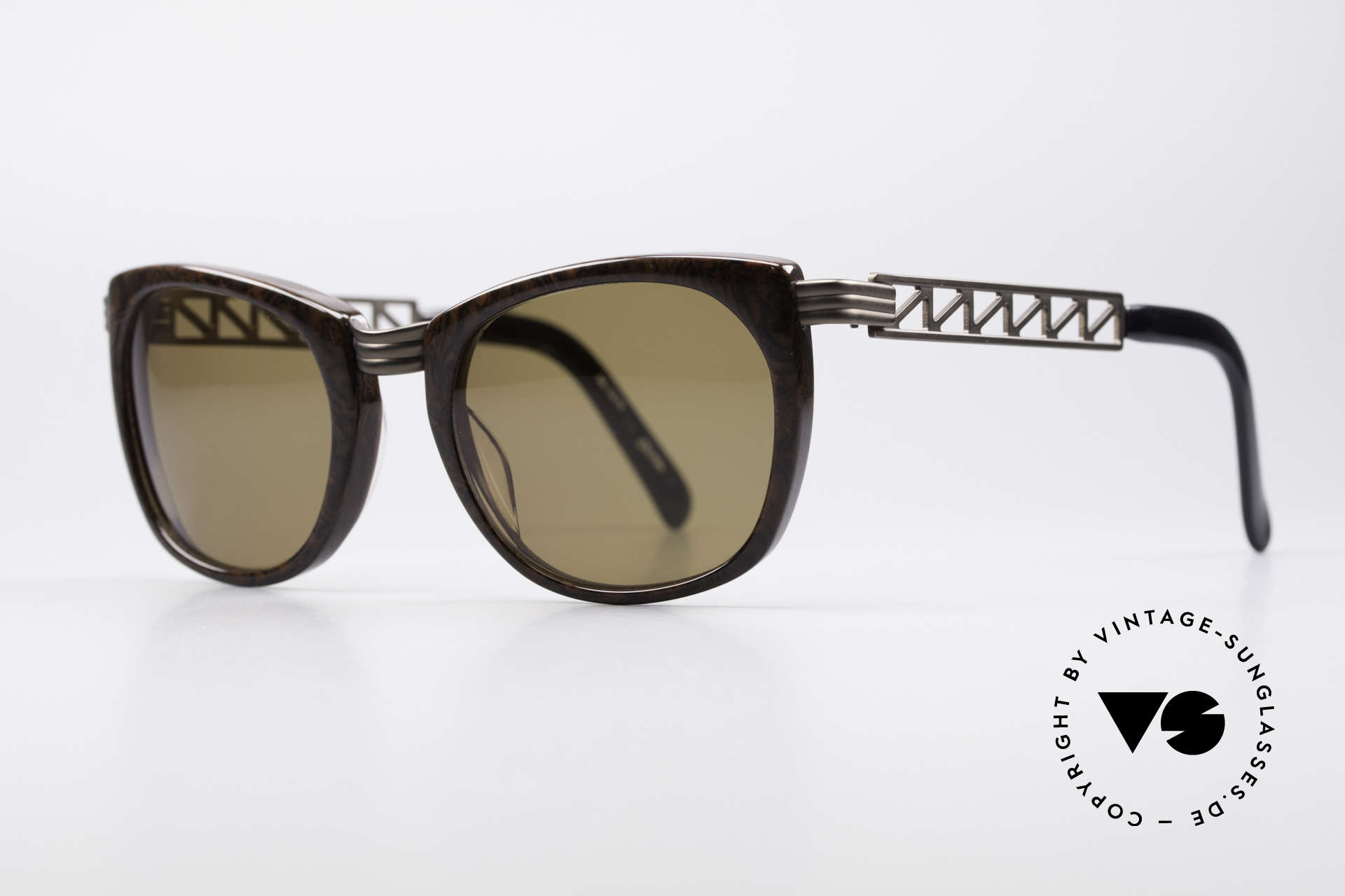 """Jean Paul Gaultier 56-0272 Steampunk JPG Sunglasses, """"root wood"""" frame with """"rusty brown"""" finish, Made for Men and Women"""